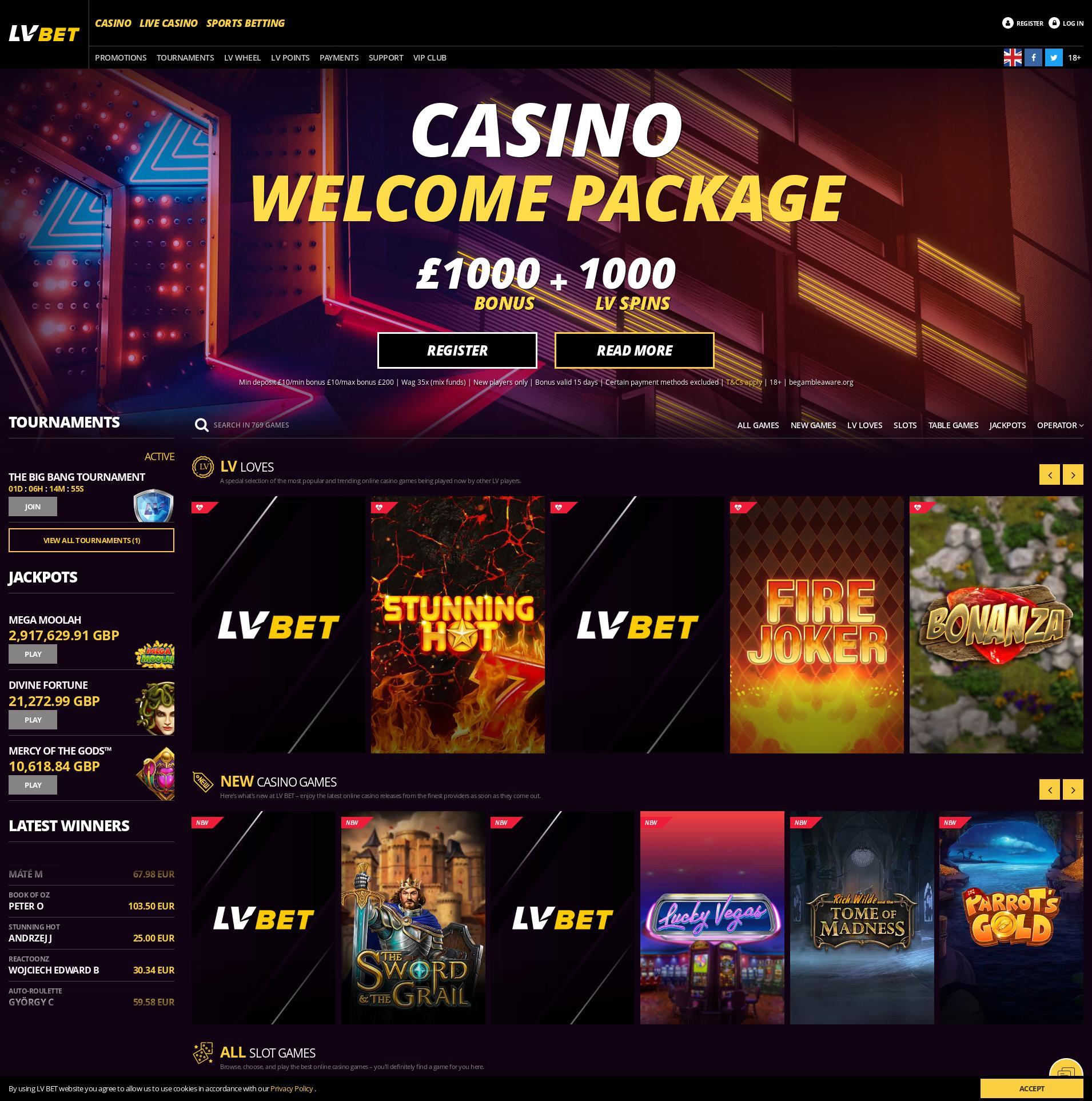 Casino screen Lobby 2019-08-18 for United Kingdom