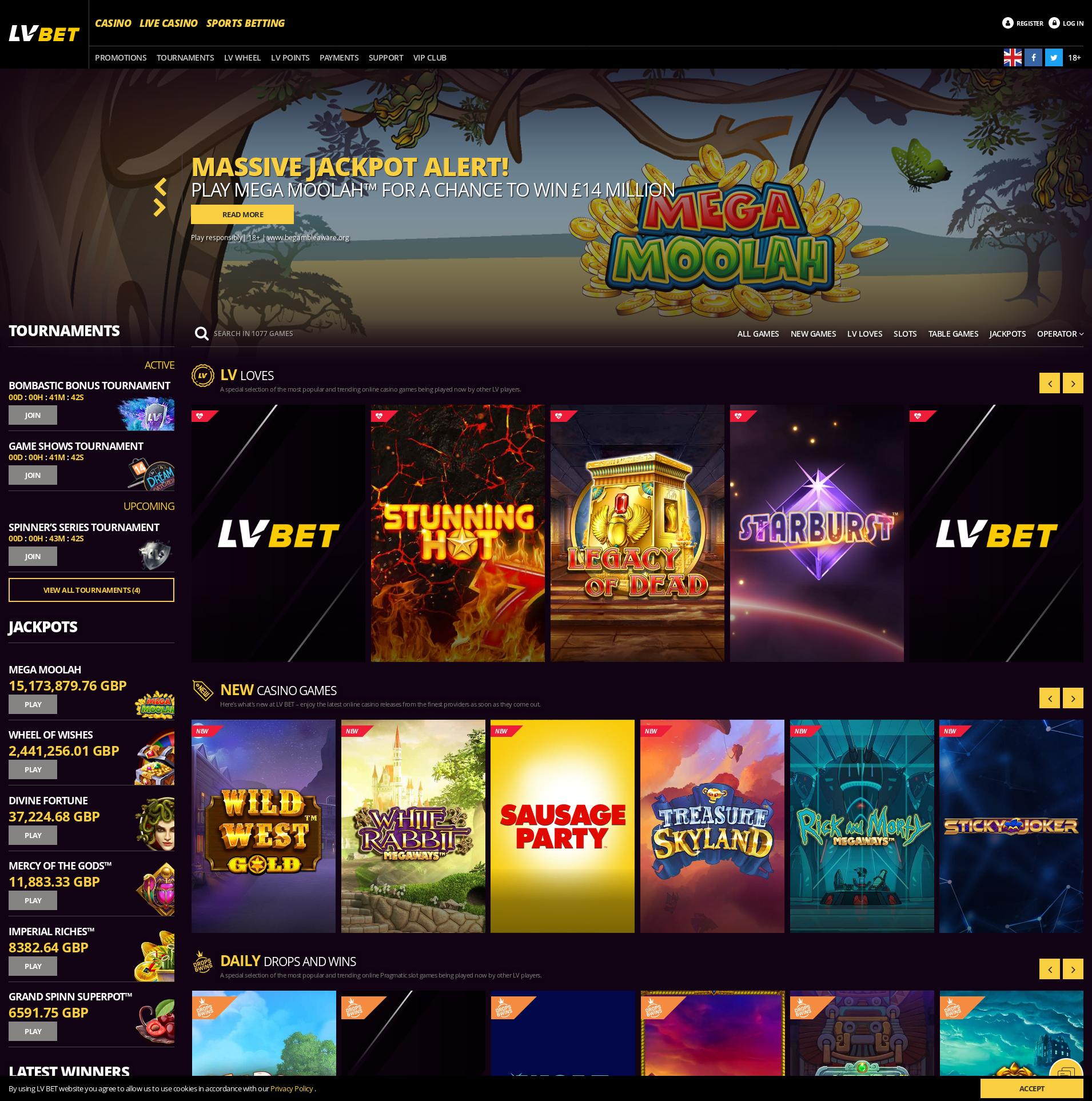 Casino screen Lobby 2020-03-30 for United Kingdom