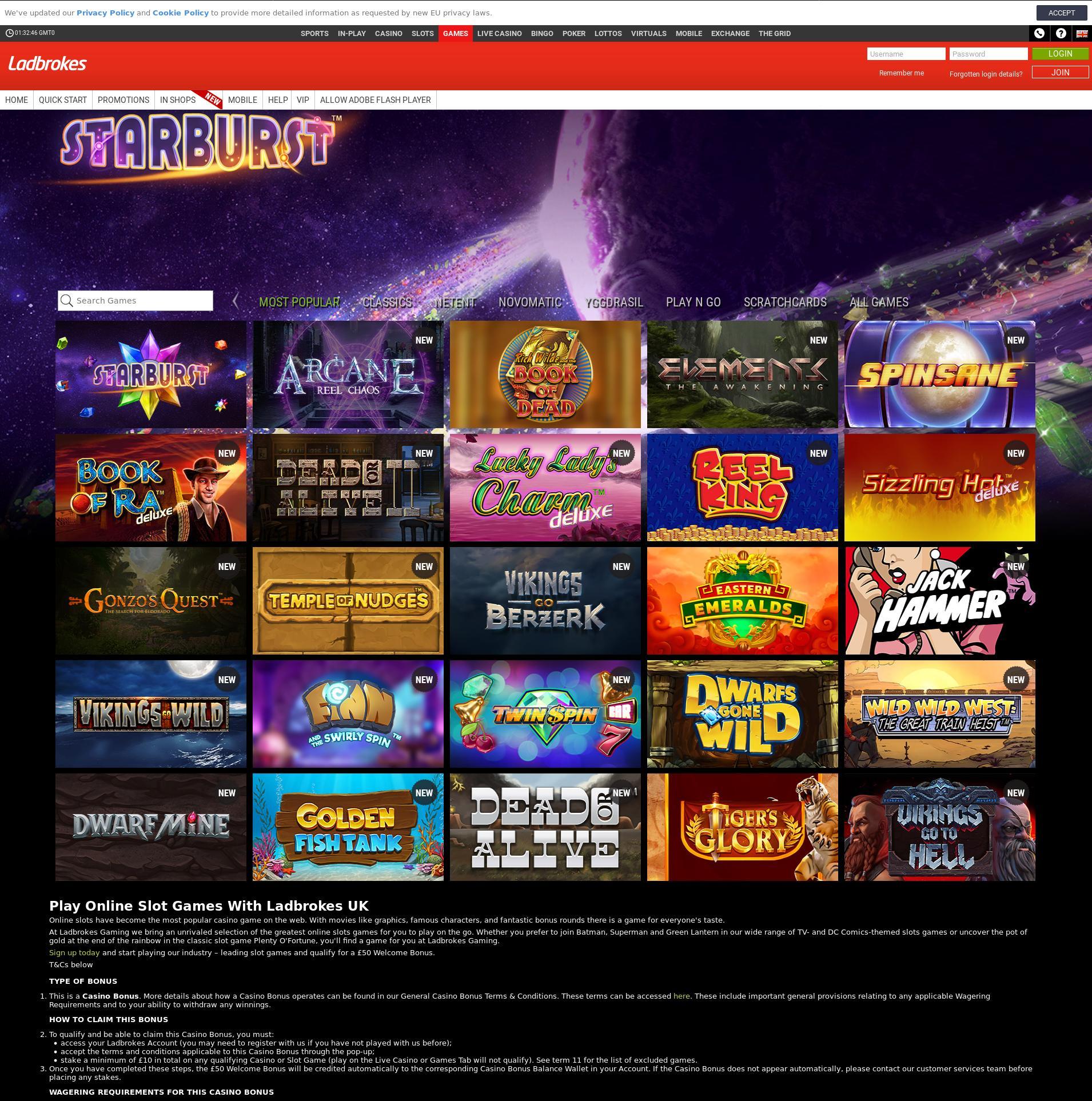 Casino screen Lobby 2019-06-26 for United Kingdom