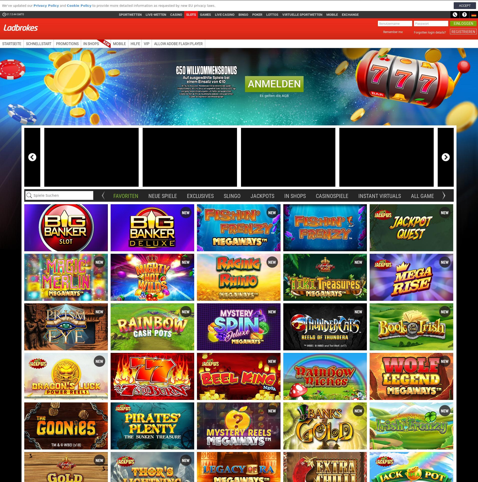 Casino Bildschirm Lobby 2019-07-17 zum Deutschland