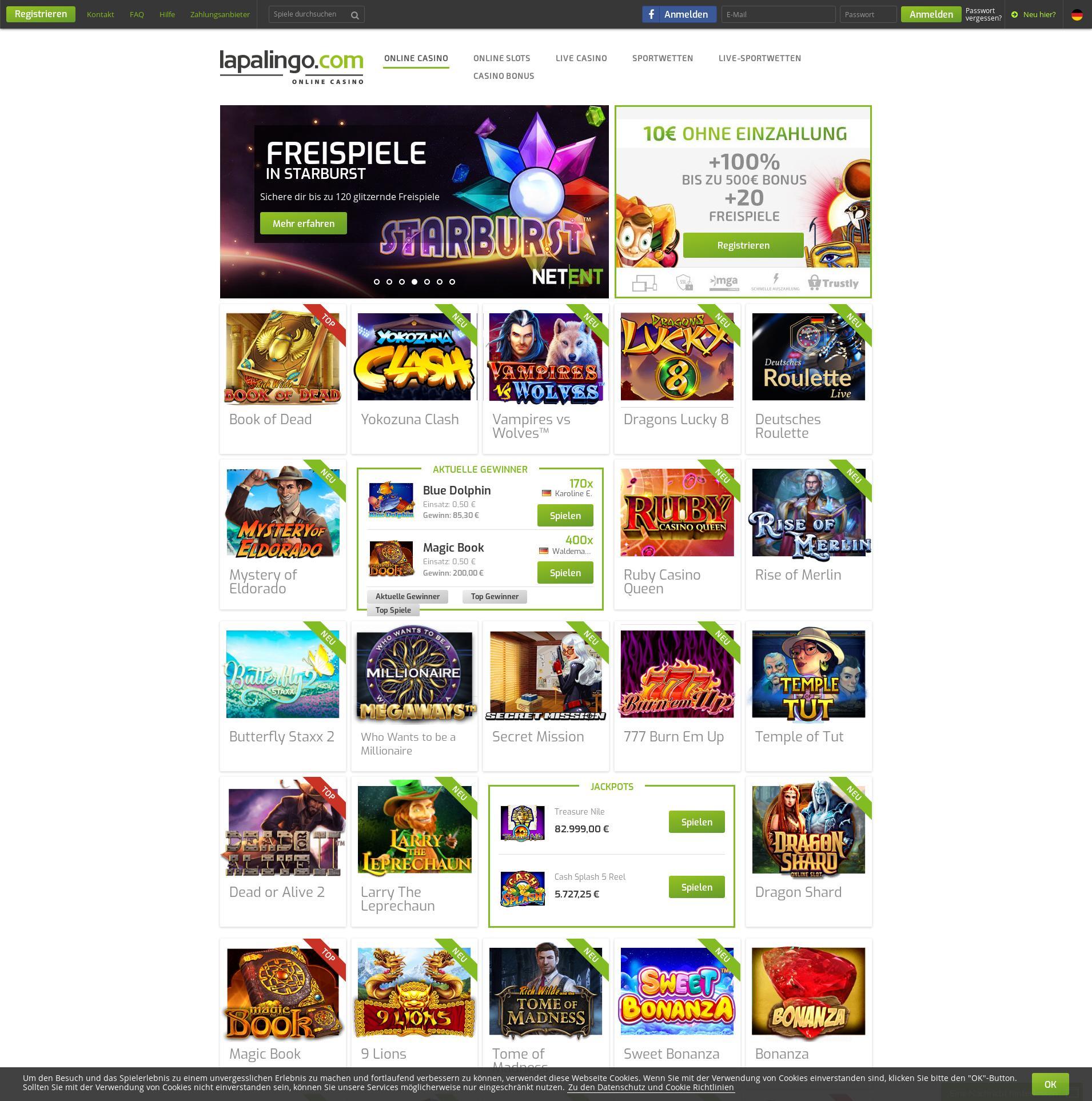 Casino Bildschirm Lobby 2019-08-25 zum Deutschland
