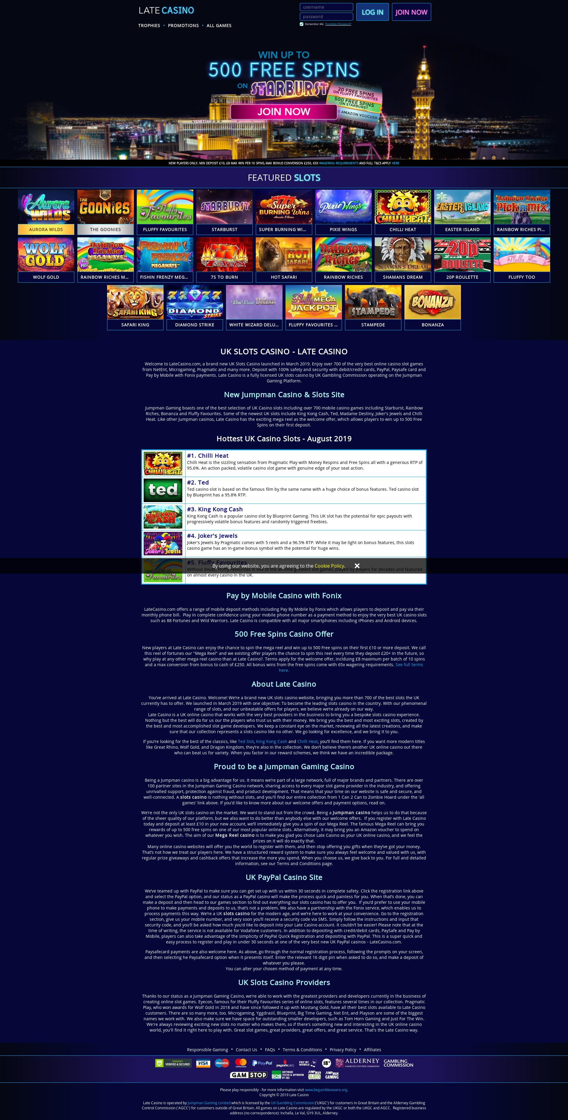 Casino screen Lobby 2019-09-14 for United Kingdom