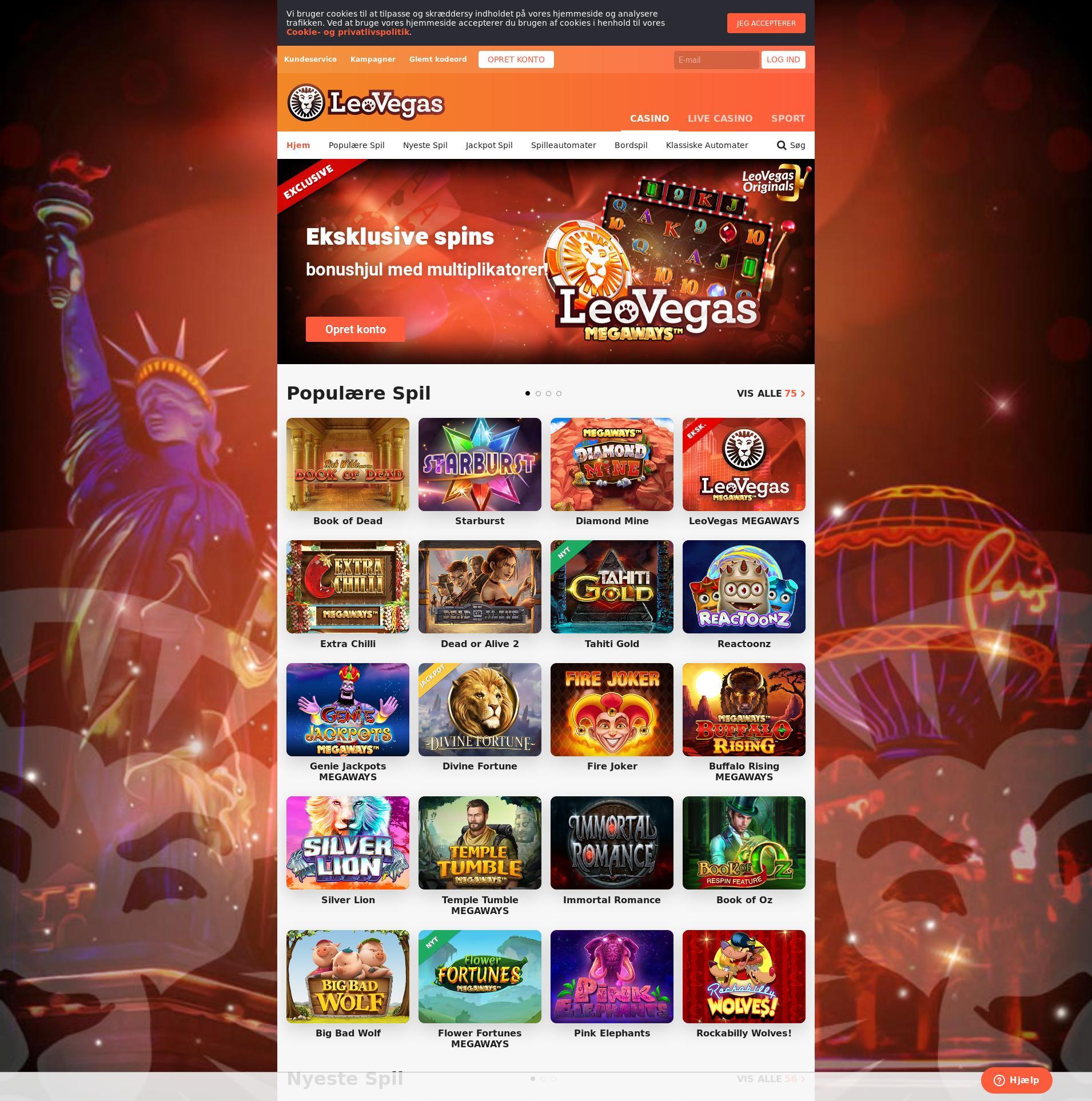 Casino skærm Lobby 2019-08-17 til Danmark