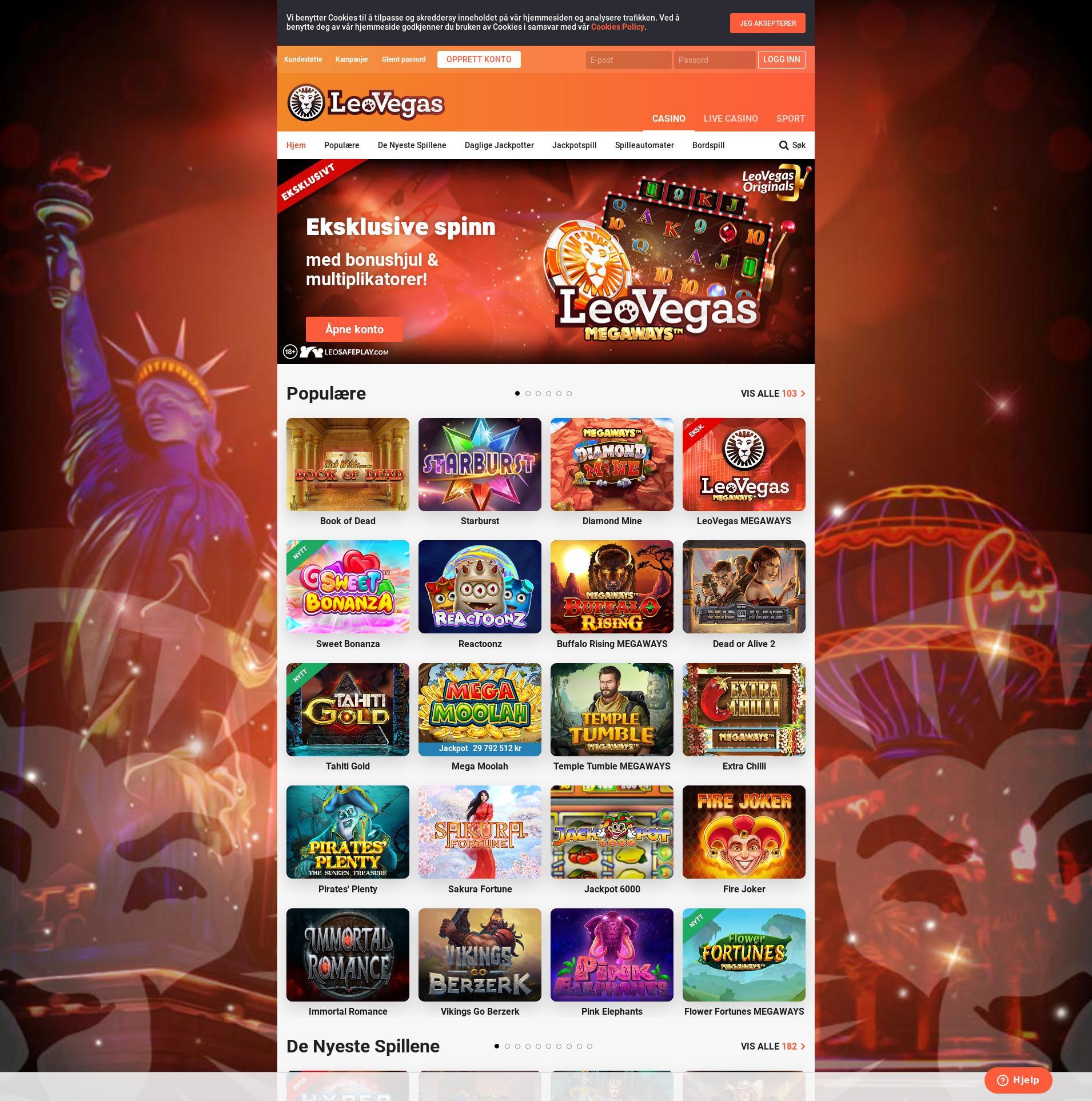 Casino screen Lobby 2019-08-19 for Norway