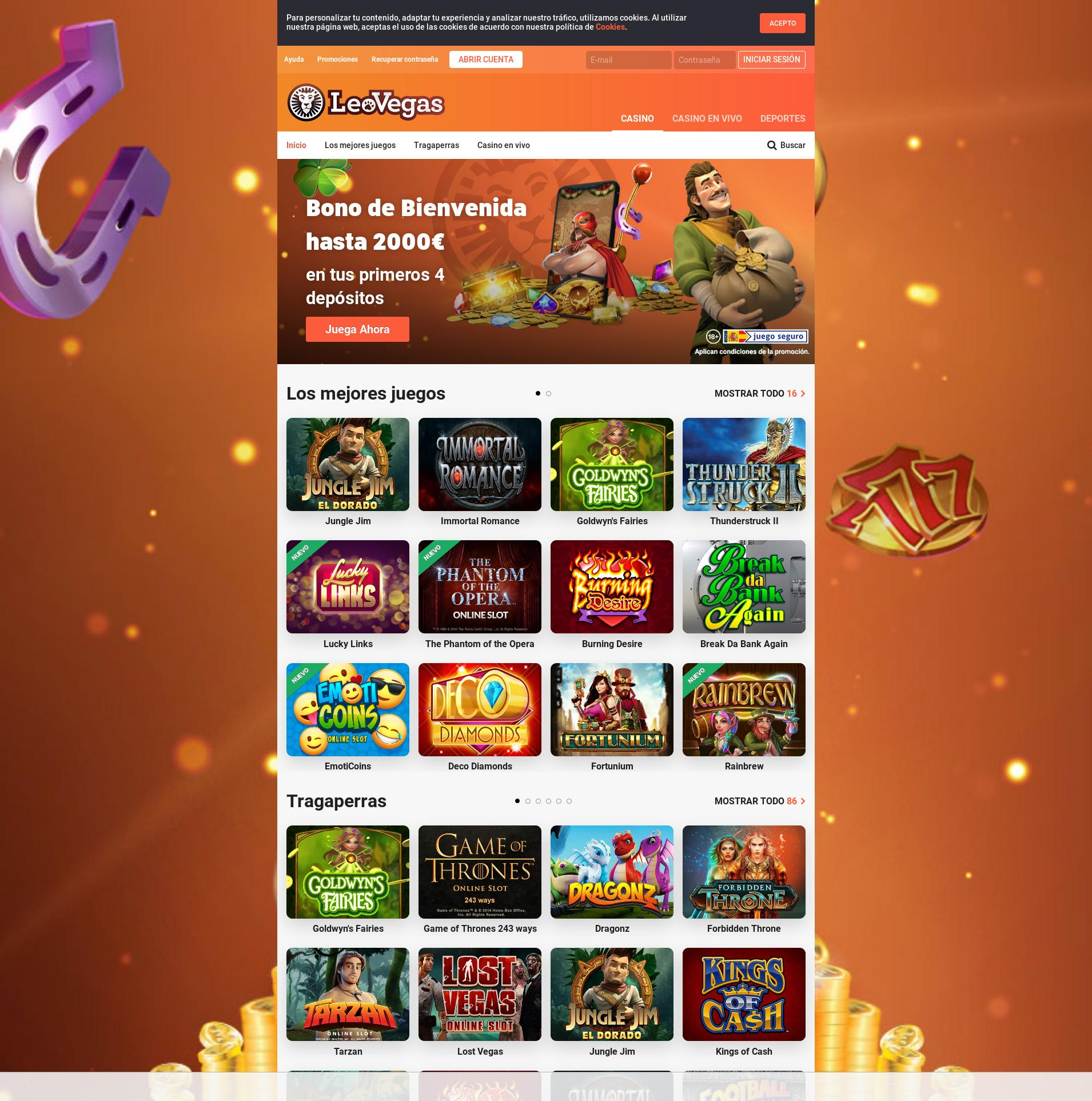 Casino screen Lobby 2019-08-21 for Spain