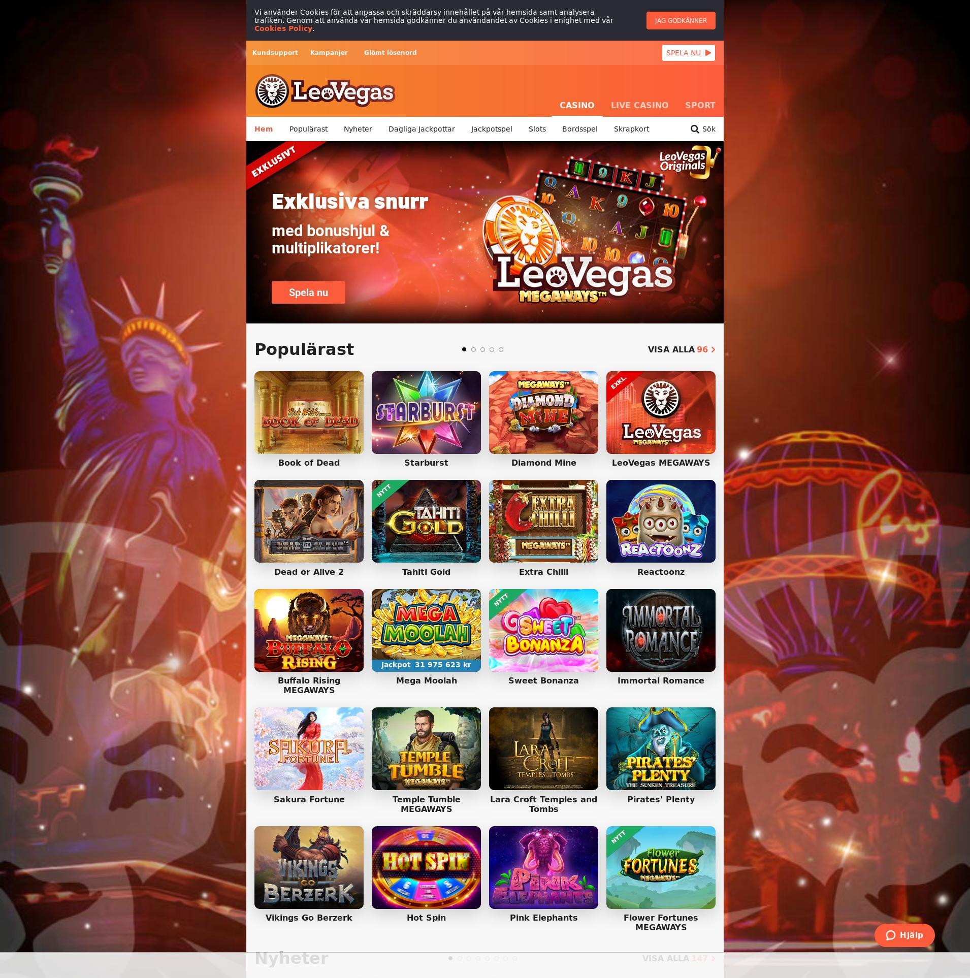 Casino screen Lobby 2019-08-21 for Sweden