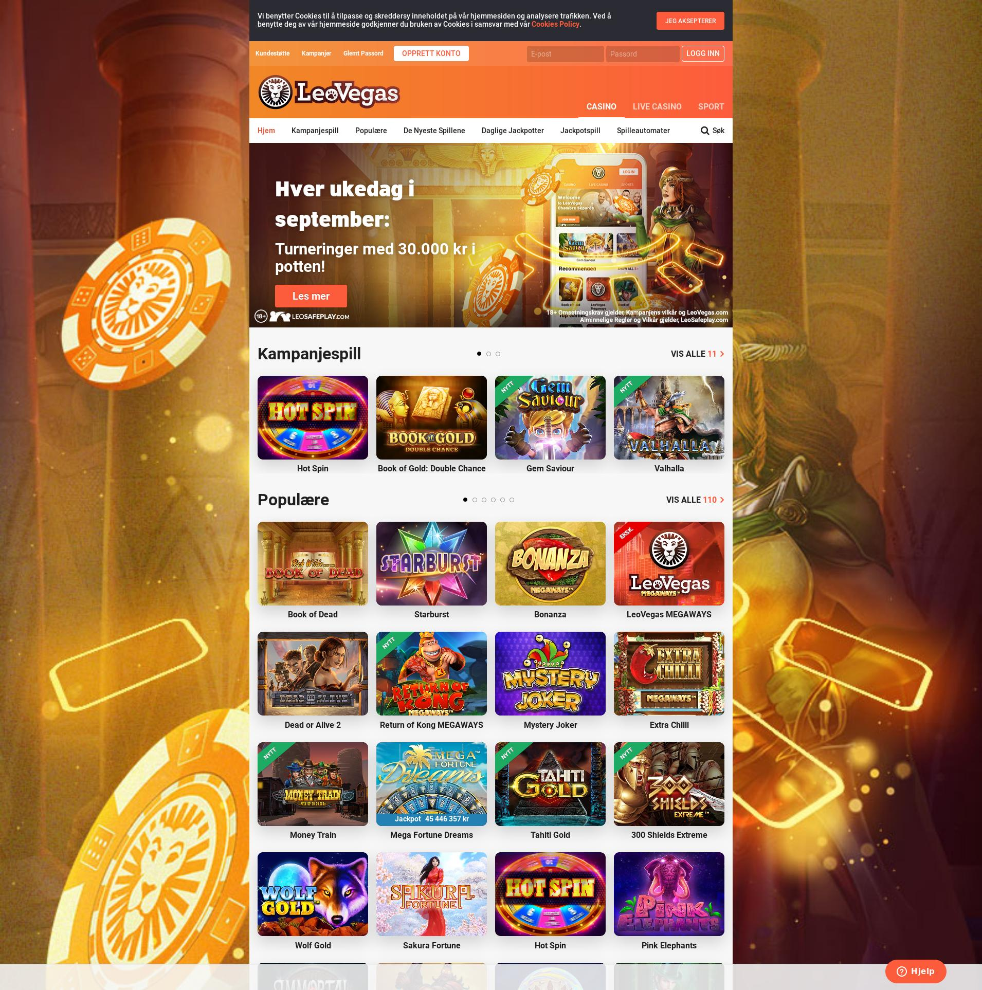 Casino screen Lobby 2019-09-15 for Norway