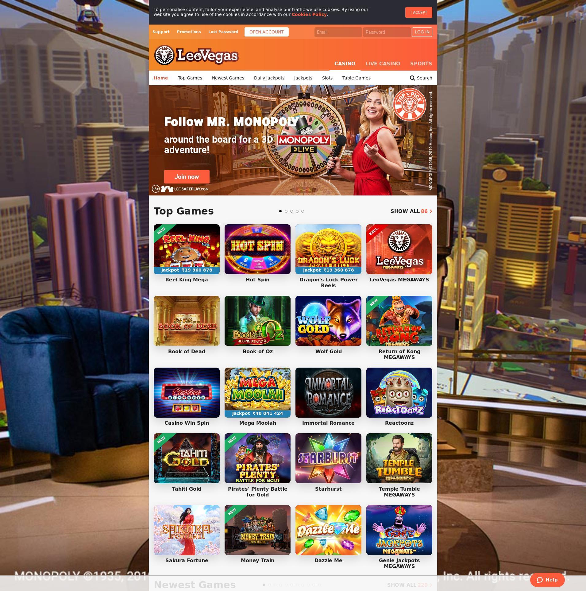 Casino screen Lobby 2019-10-17 for India