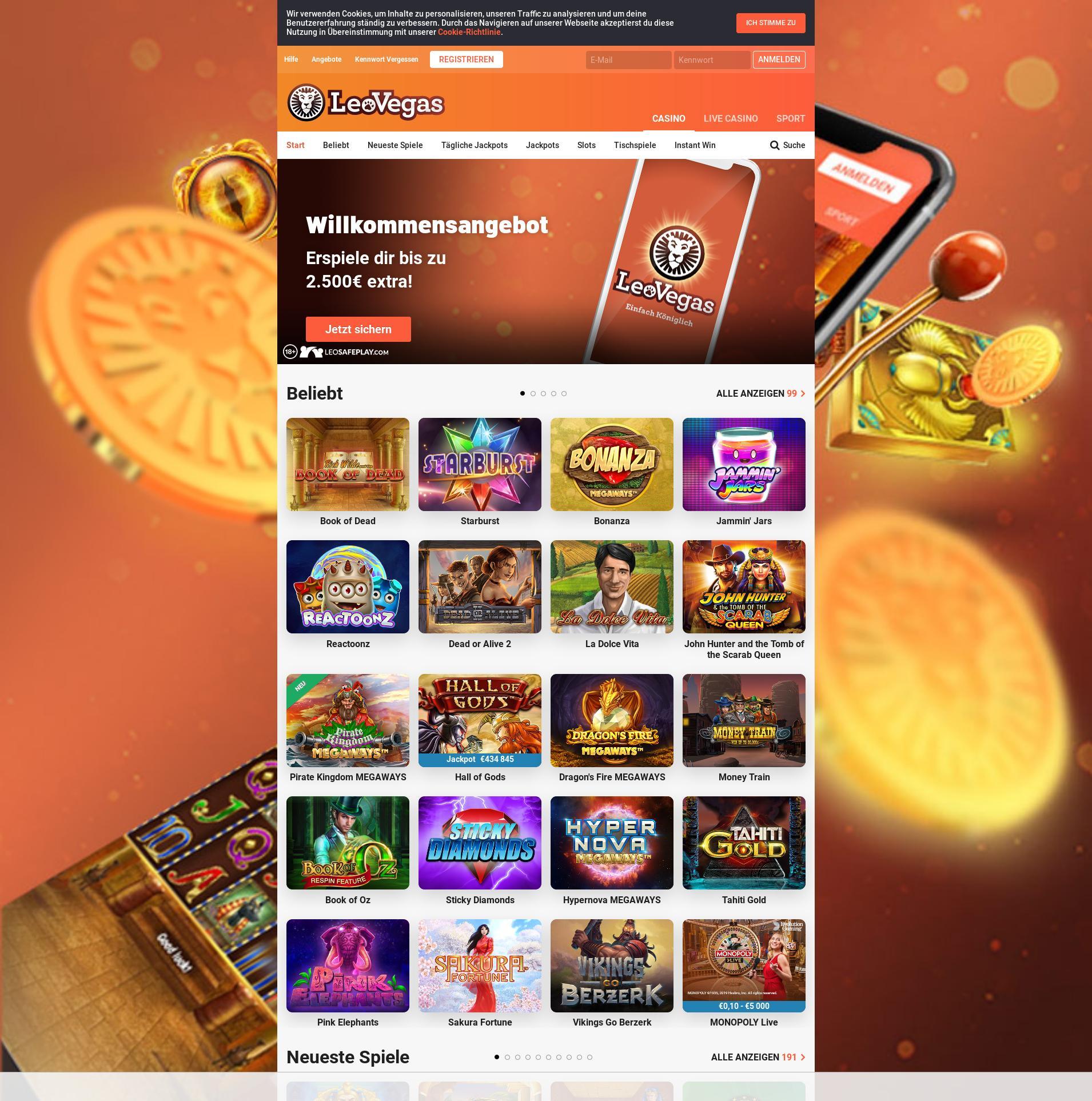 Casino Bildschirm Lobby 2020-01-21 zum Deutschland