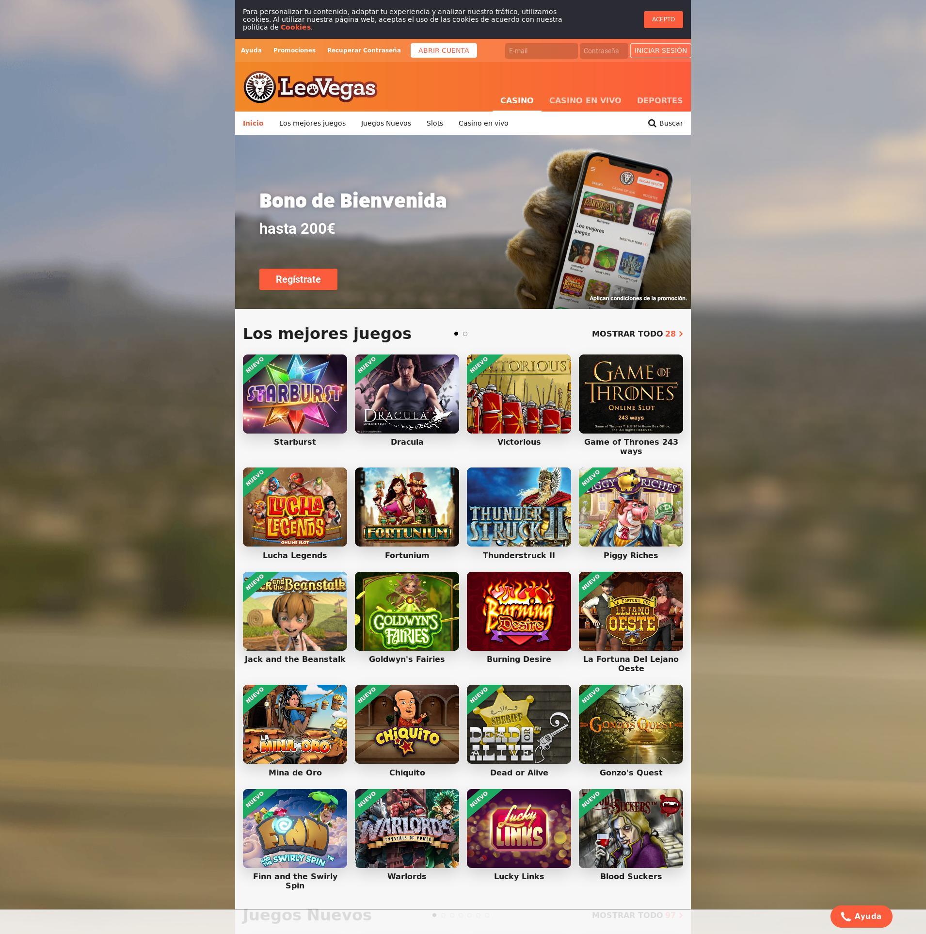 Pantalla de casino Lobby 2020-01-21 para España