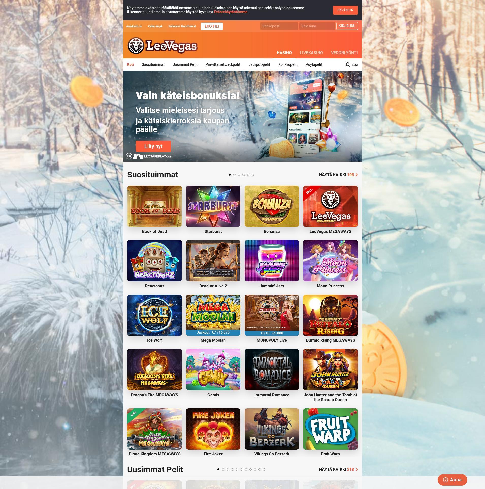Casino screen Lobby 2020-02-15 for Finland