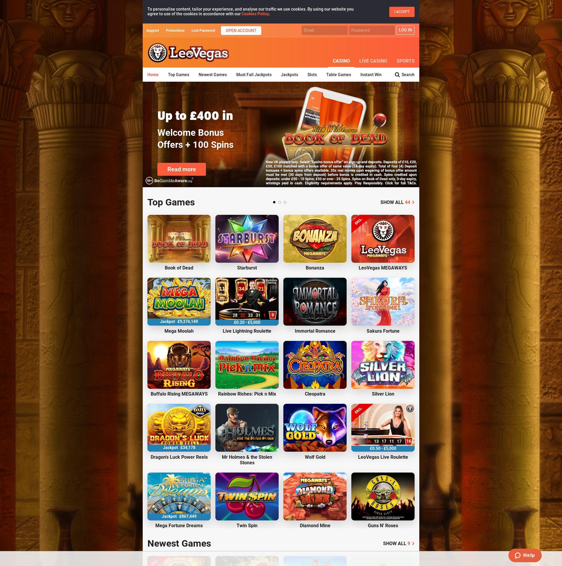 Casino screen Lobby 2020-02-26 for United Kingdom