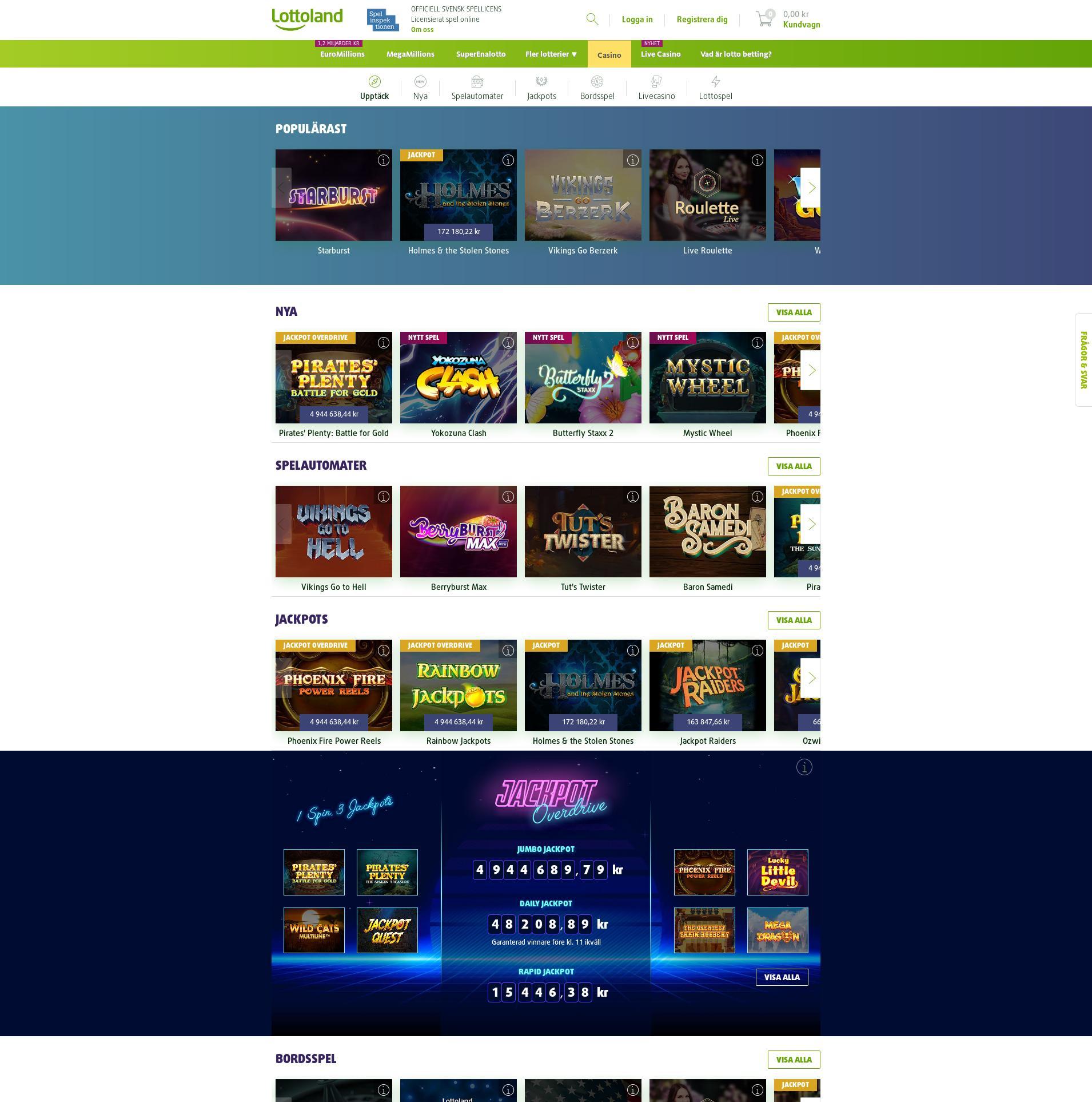 Casino skärm Lobby 2019-08-25 för Sverige