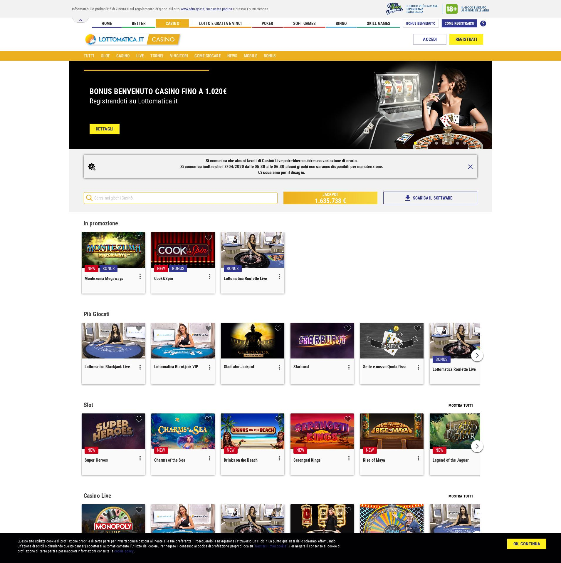 Schermo del casinò Lobby 2020-04-07 per Italia