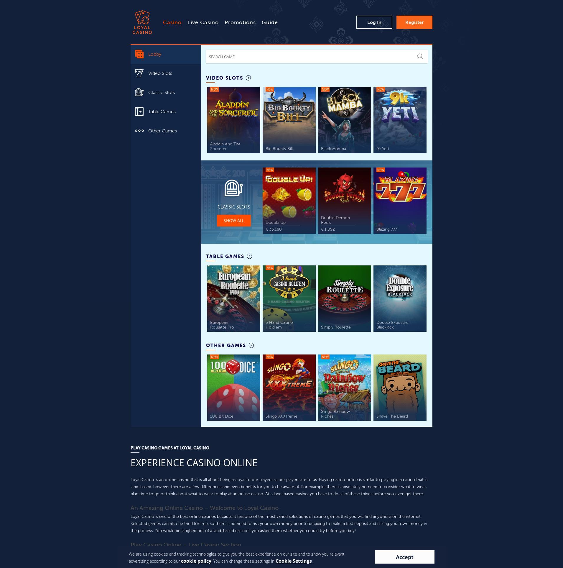 Casino Bildschirm Lobby 2019-11-15 zum Deutschland
