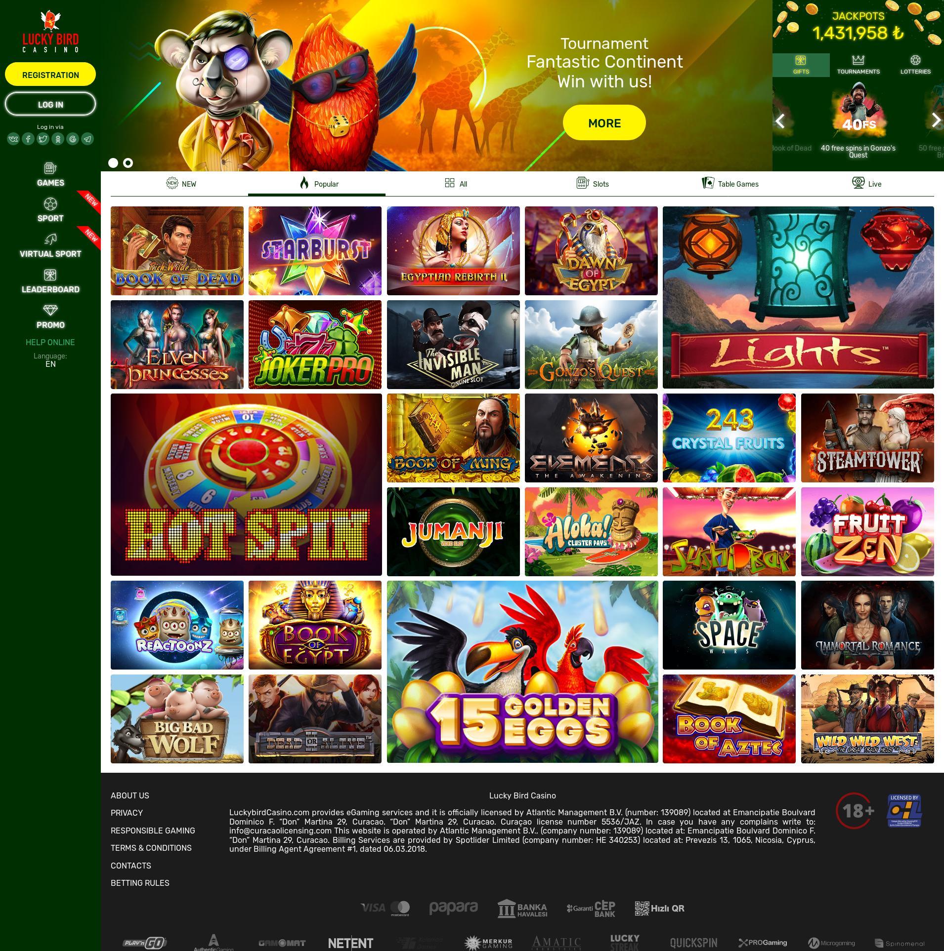 Casino ekranı Lobby 2020-03-29 için Türkiye