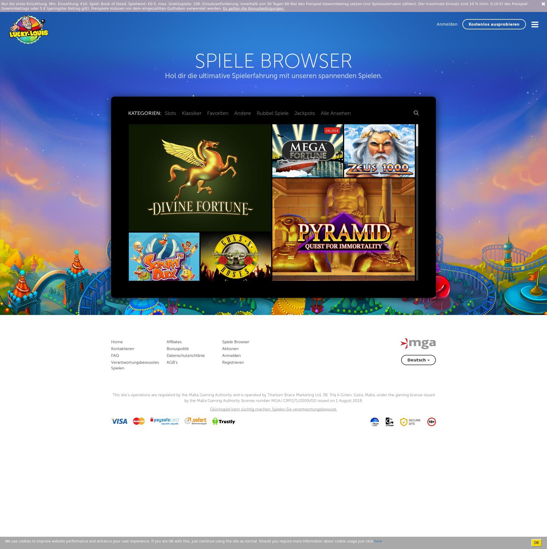 Casino Bildschirm Lobby 2019-12-09 zum Deutschland