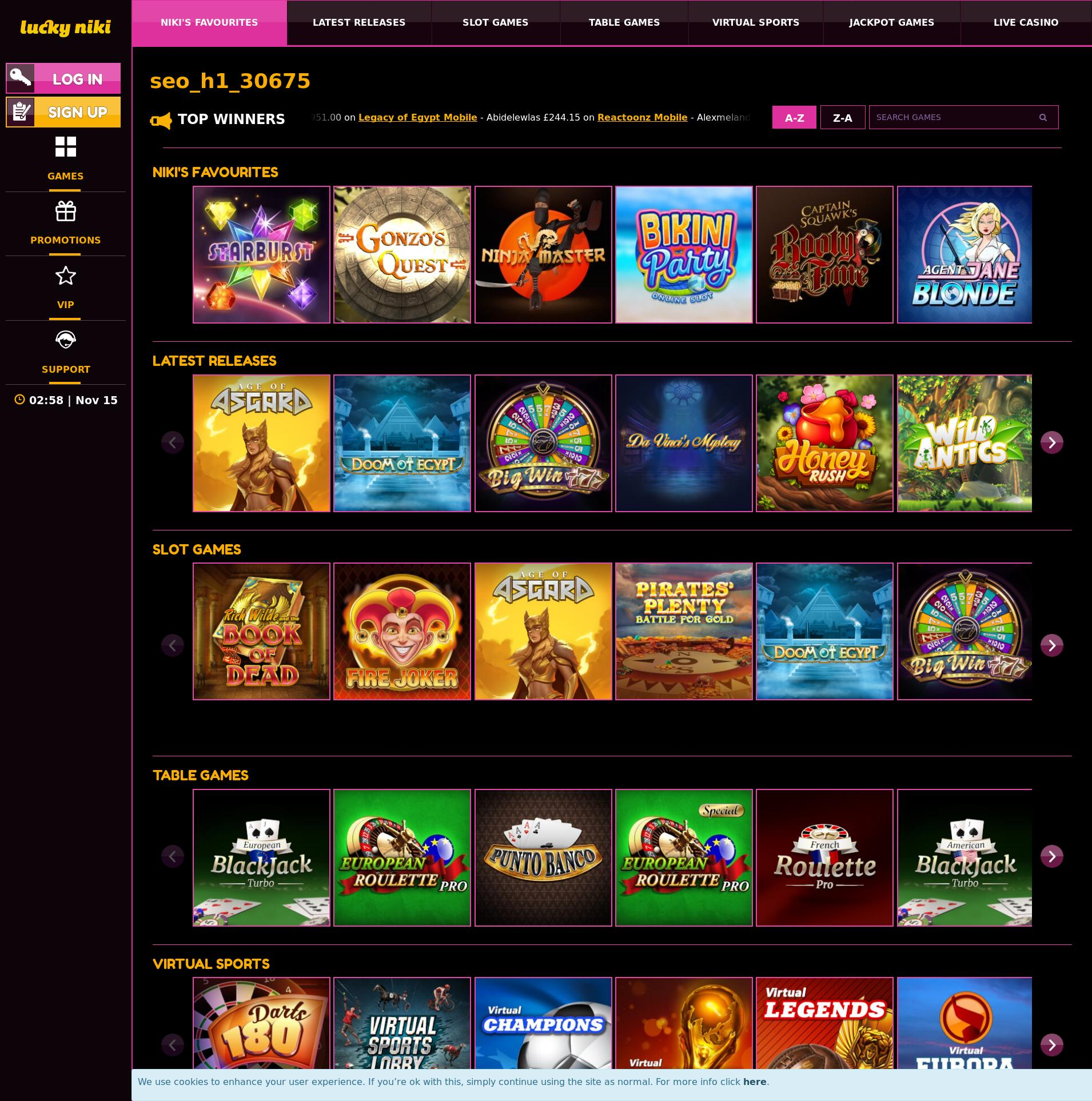 Casino screen Lobby 2019-11-15 for United Kingdom