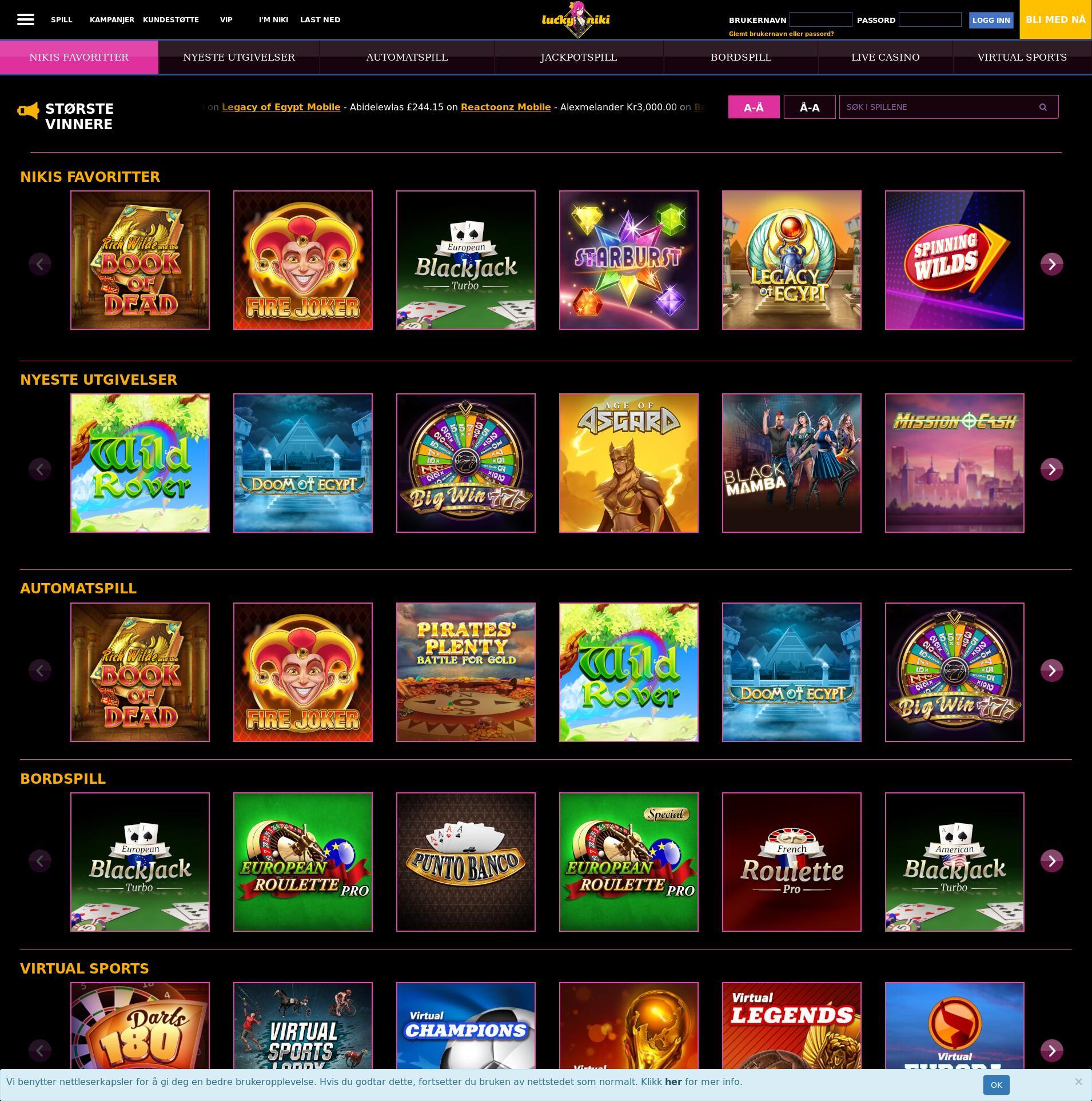 Casino skjerm Lobby 2019-11-17 til Norge