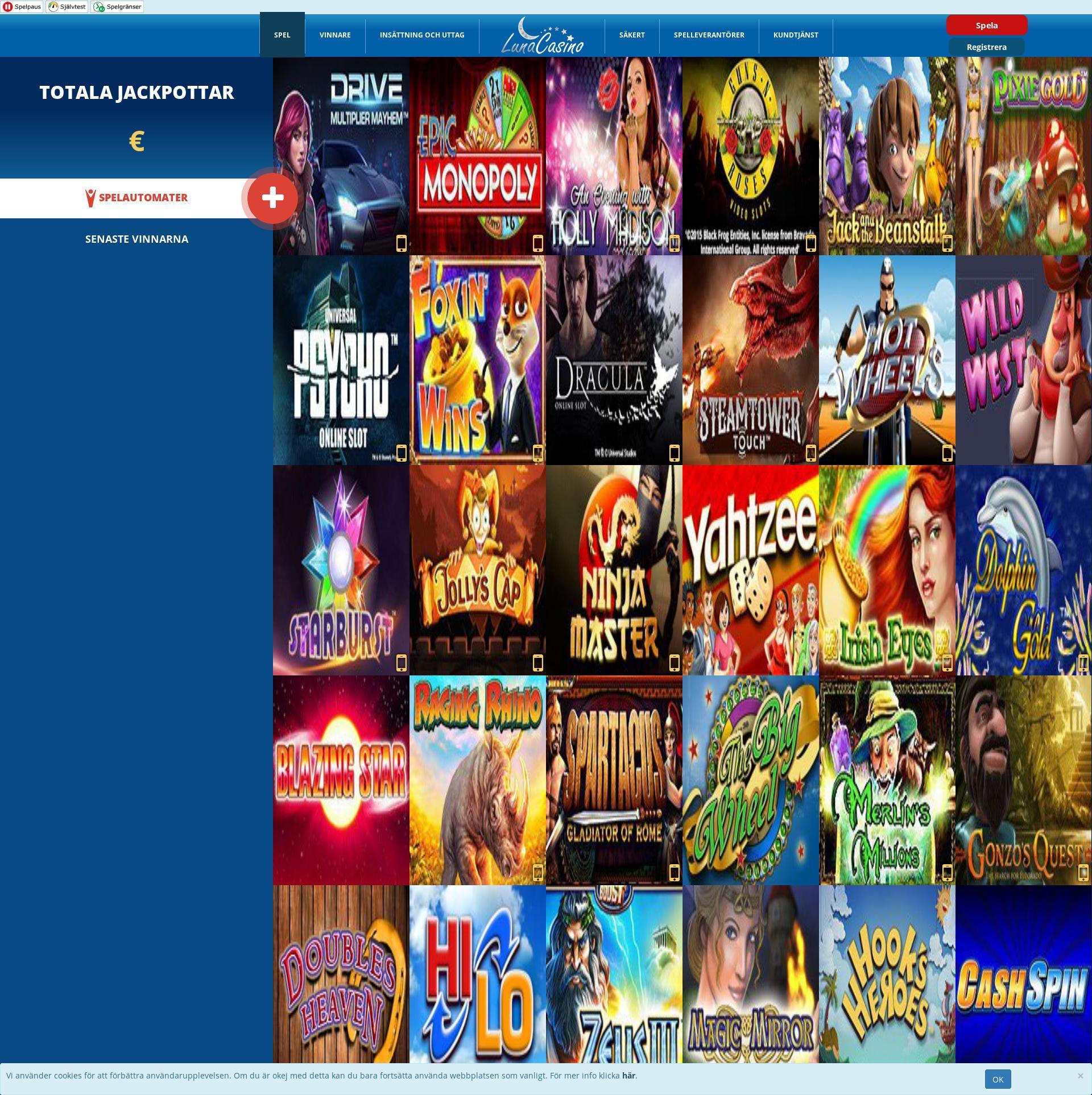 Casino skärm Lobby 2020-05-26 för Sverige