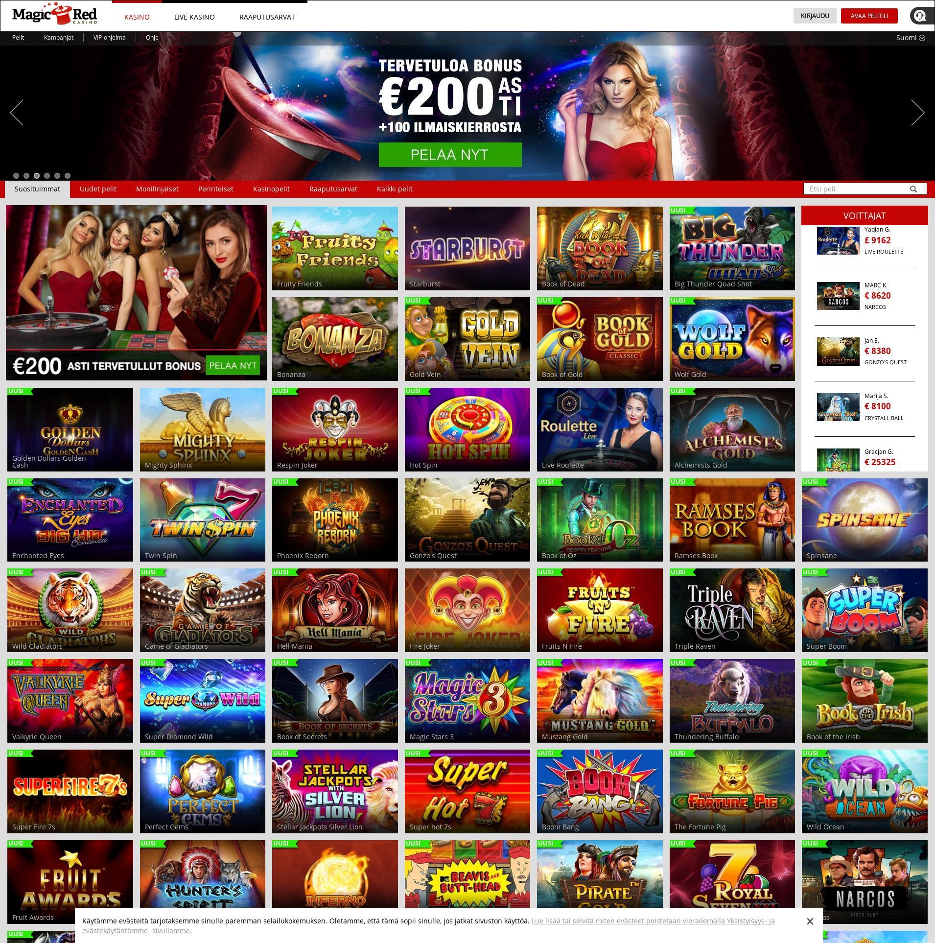 Casino-näyttö Lobby 2019-06-19 varten Suomi