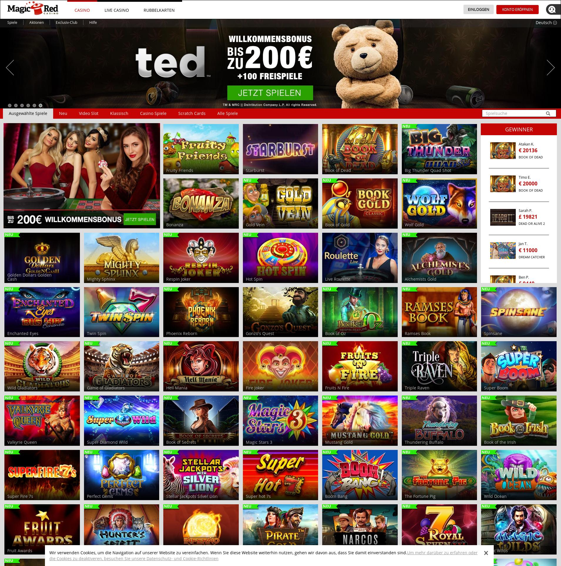 Casino Bildschirm Lobby 2019-06-19 zum Deutschland