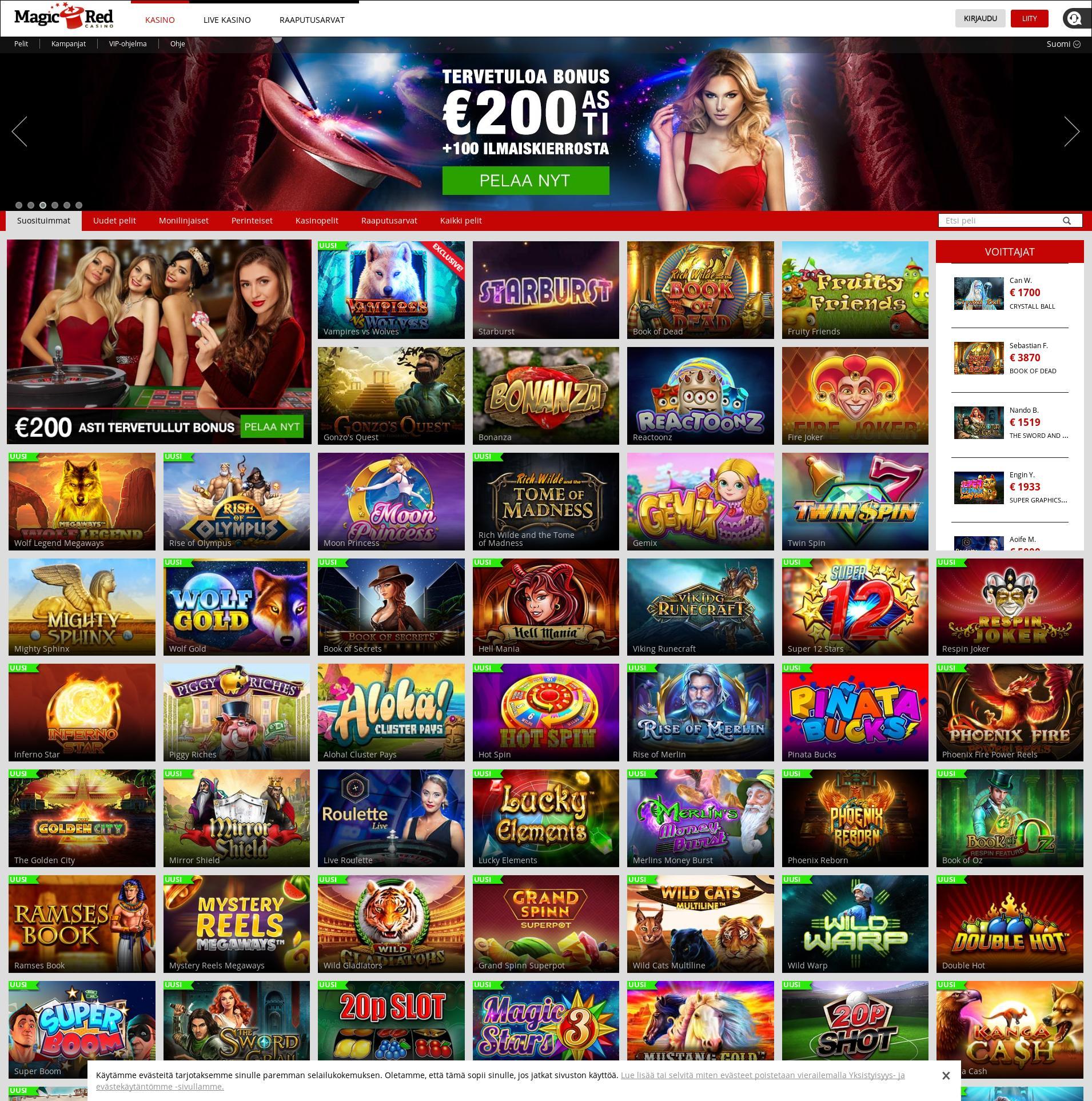 Casino-näyttö Lobby 2019-08-21 varten Suomi