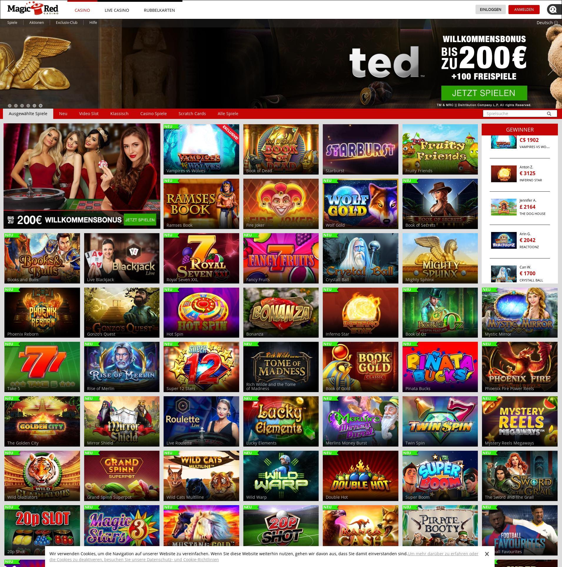 Casino Bildschirm Lobby 2019-08-21 zum Deutschland