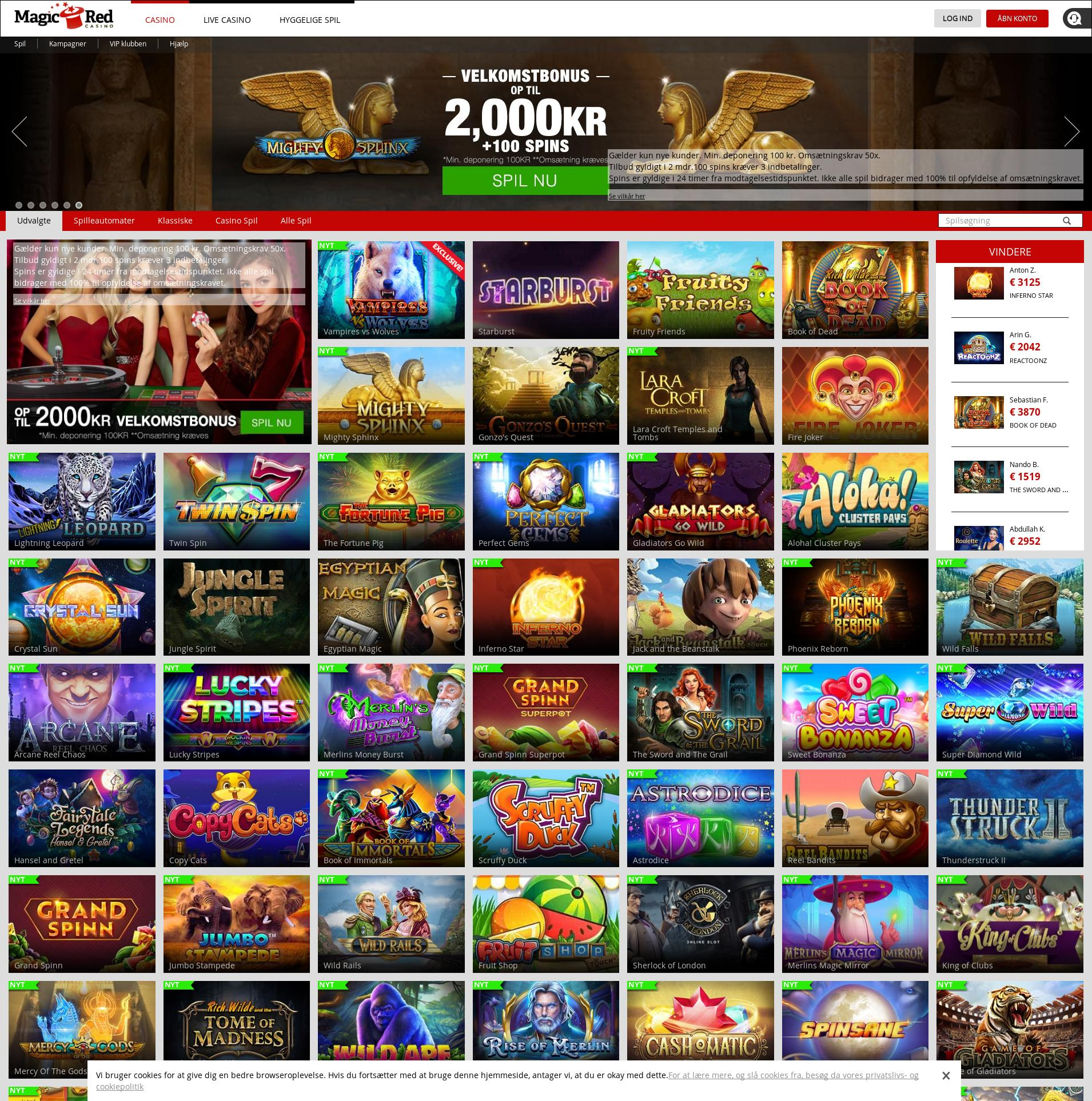 Casino skærm Lobby 2019-08-21 til Danmark