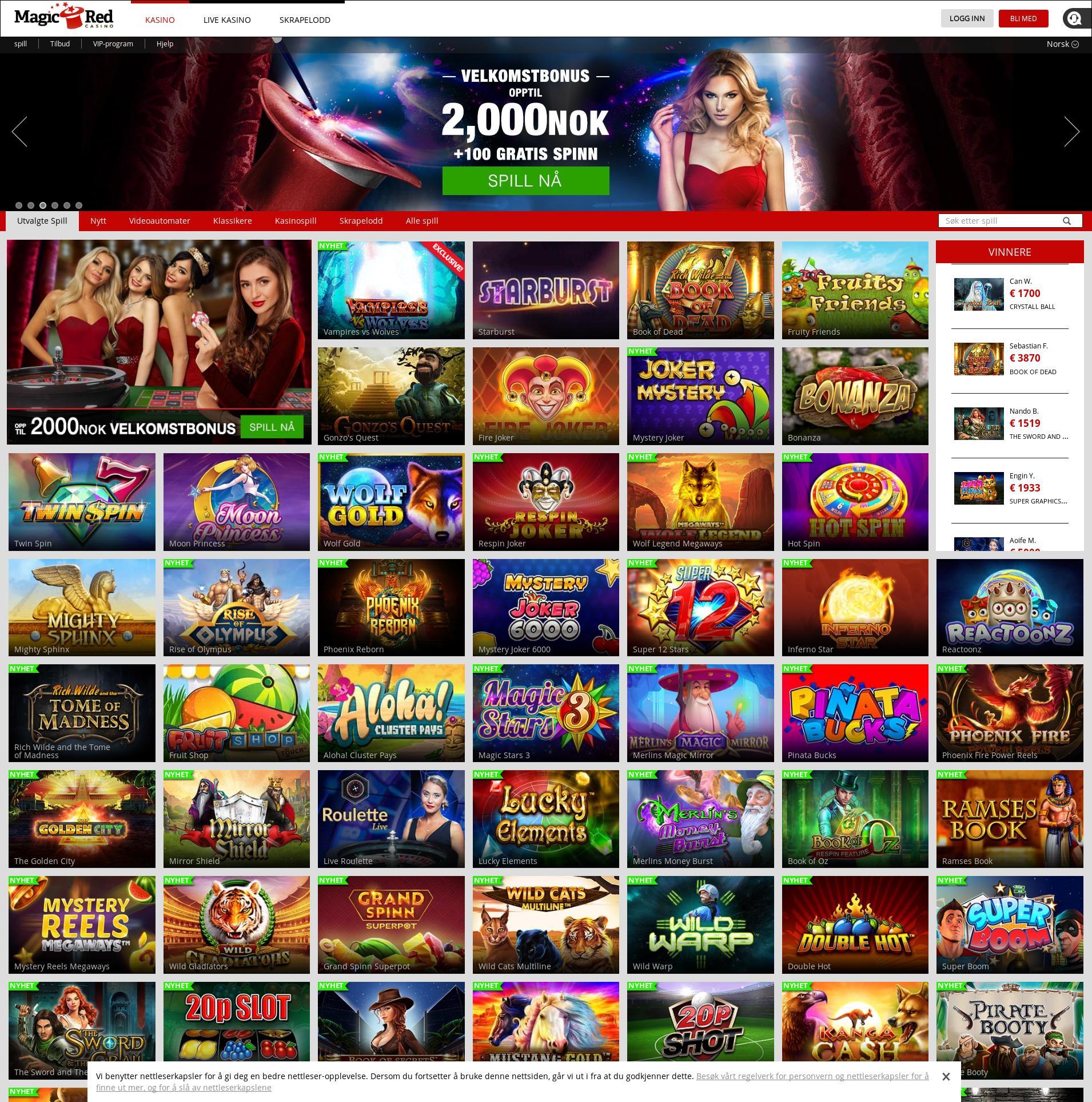 Casino skjerm Lobby 2019-08-21 til Norge