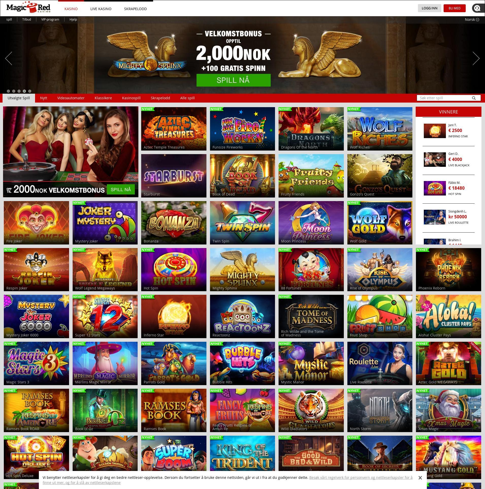 Casino skjerm Lobby 2019-12-11 til Norge