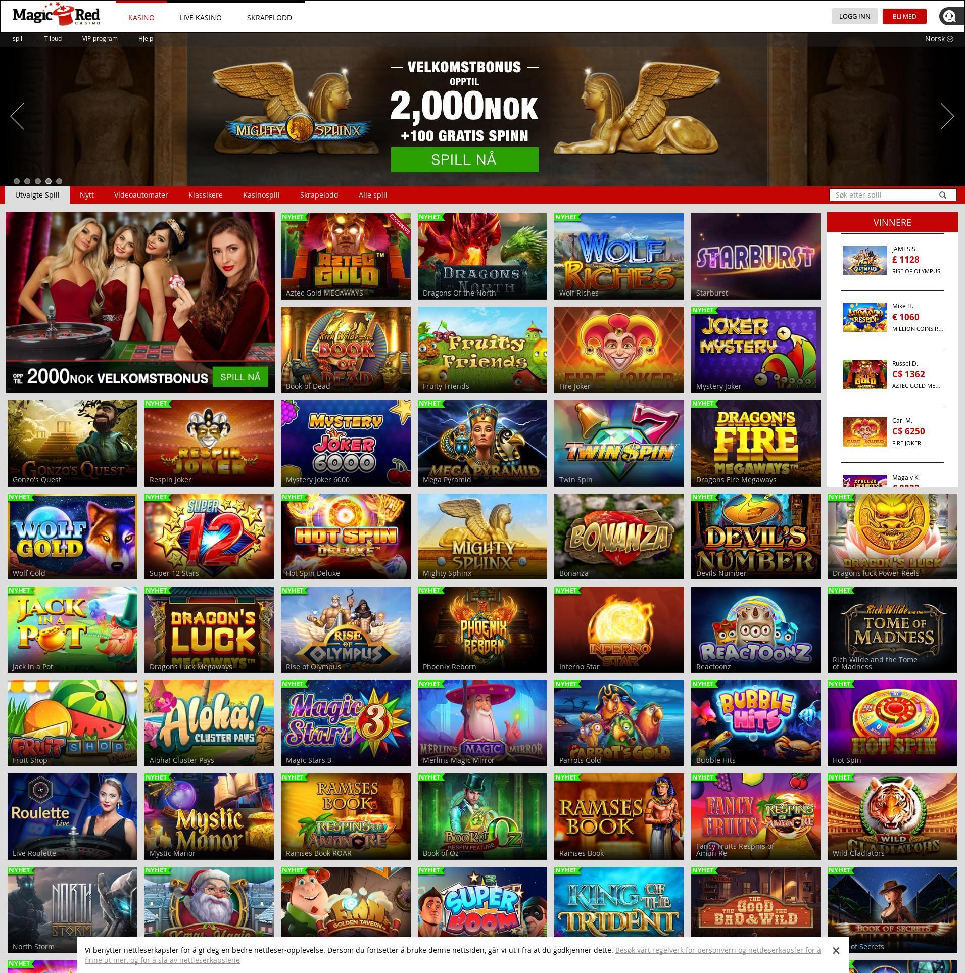 Casino scherm Lobby 2019-12-13 voor Noorwegen