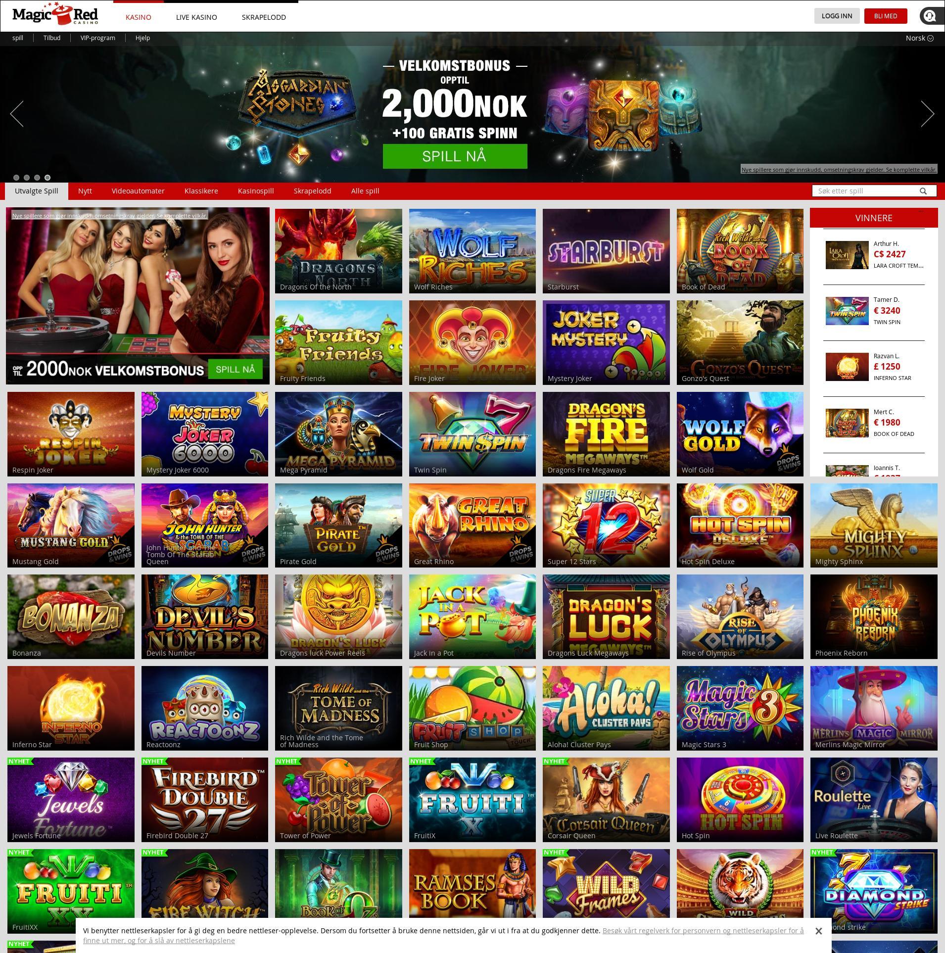 Casino skjerm Lobby 2020-01-21 til Norge