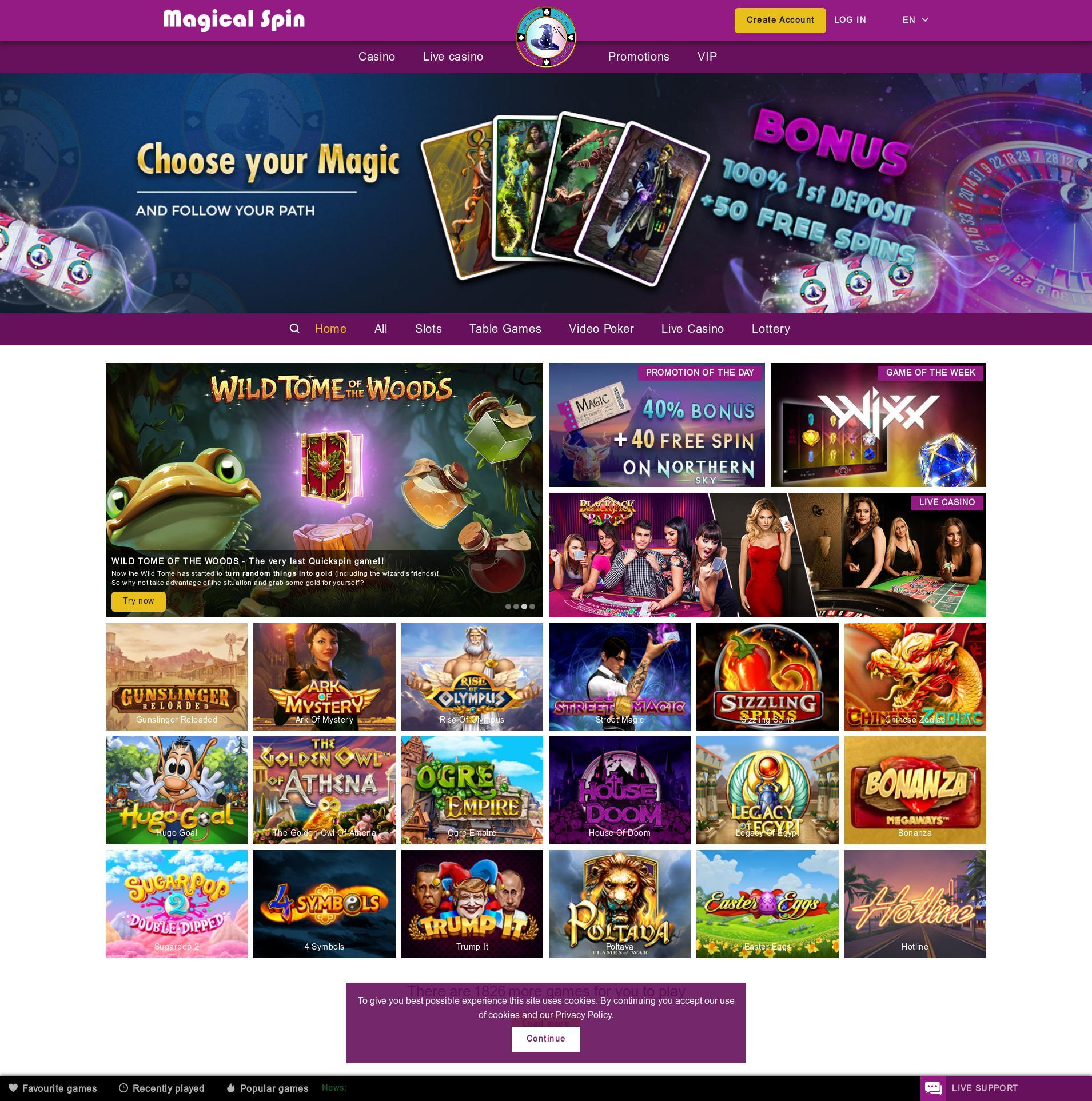 Casino screen Lobby 2019-09-20 for Norway