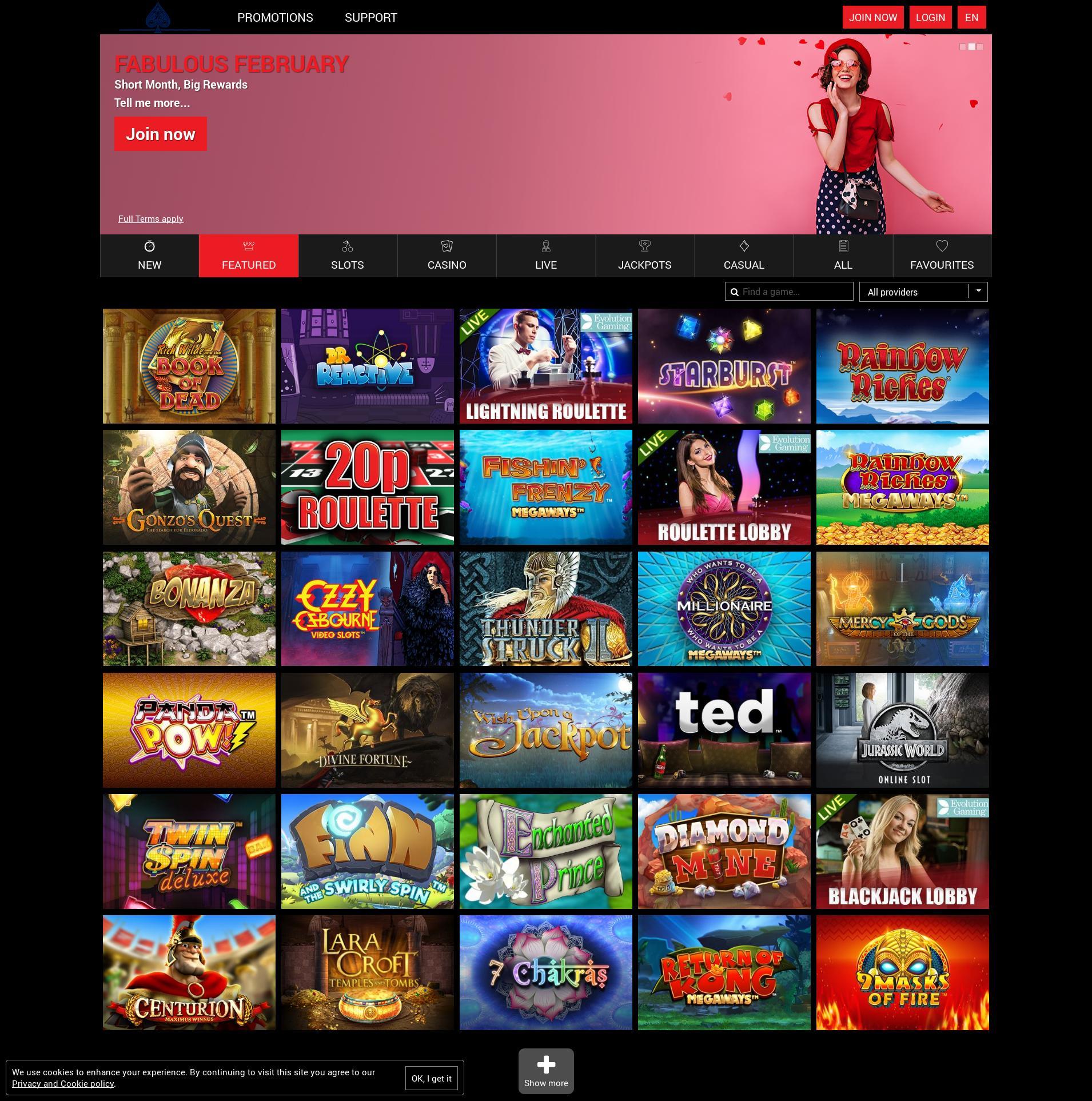 Casino screen Lobby 2020-02-22 for United Kingdom