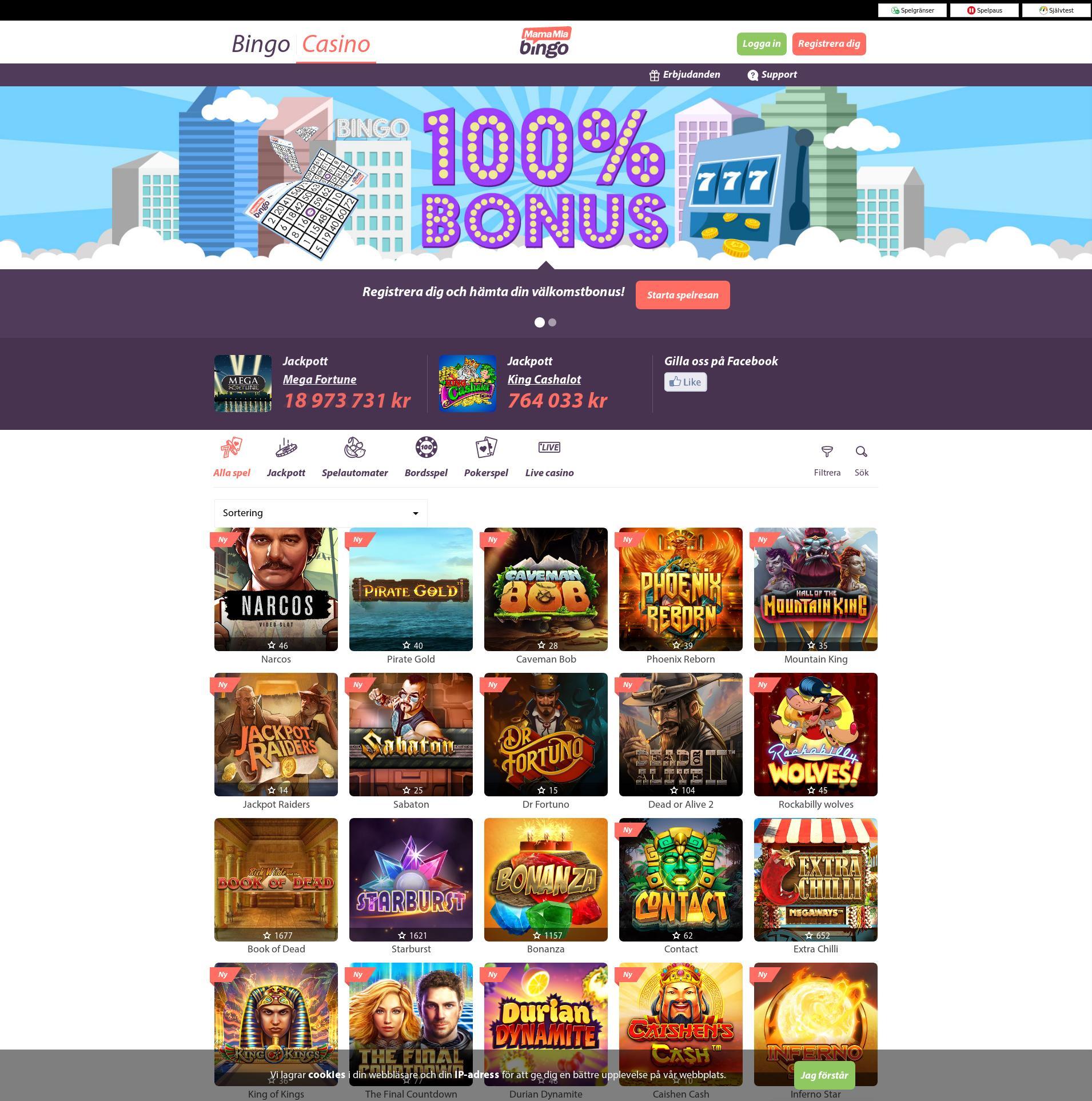 Casino skärm Lobby 2019-06-19 för Sverige
