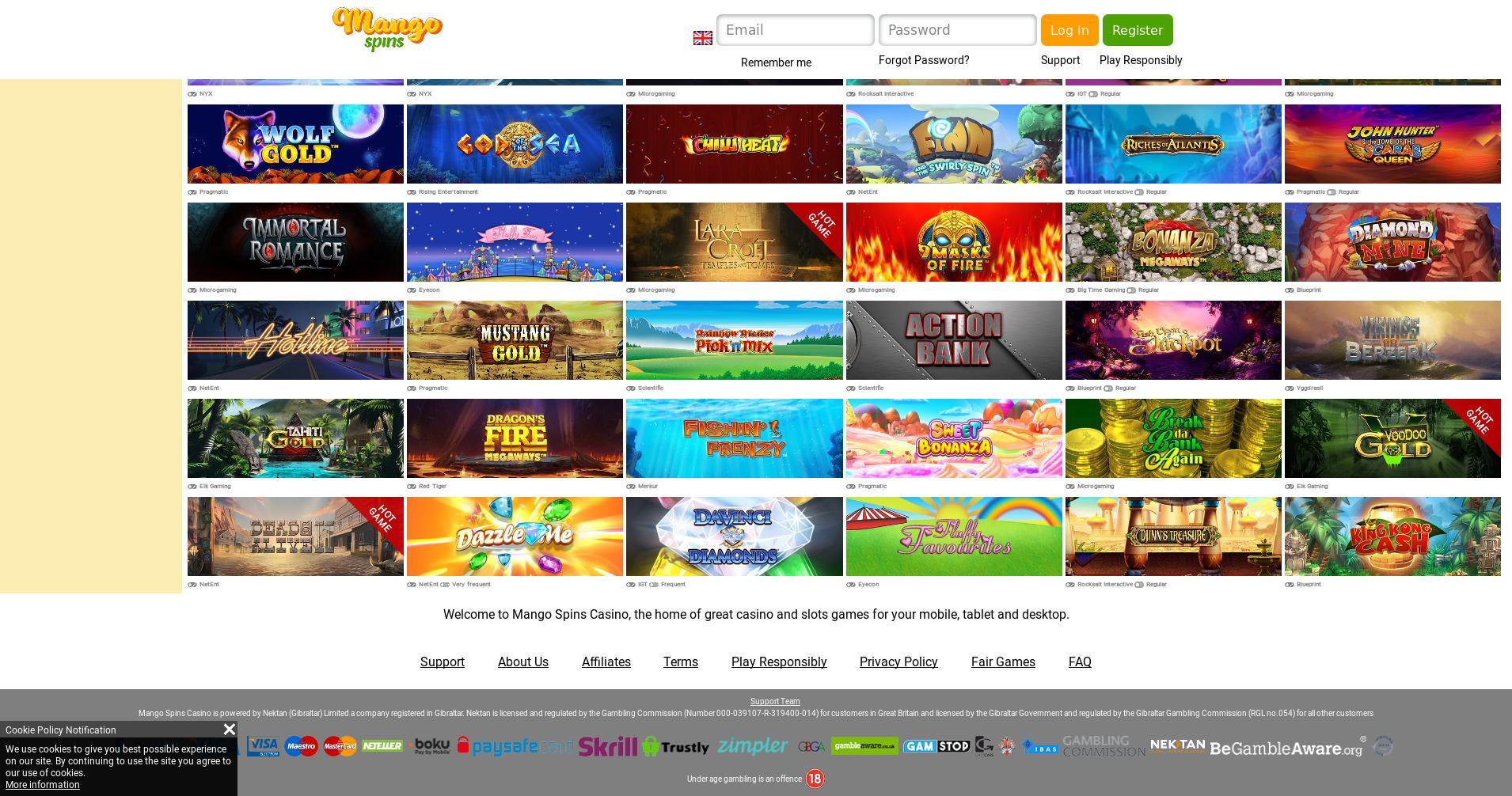 Casino screen Lobby 2019-11-19 for United Kingdom