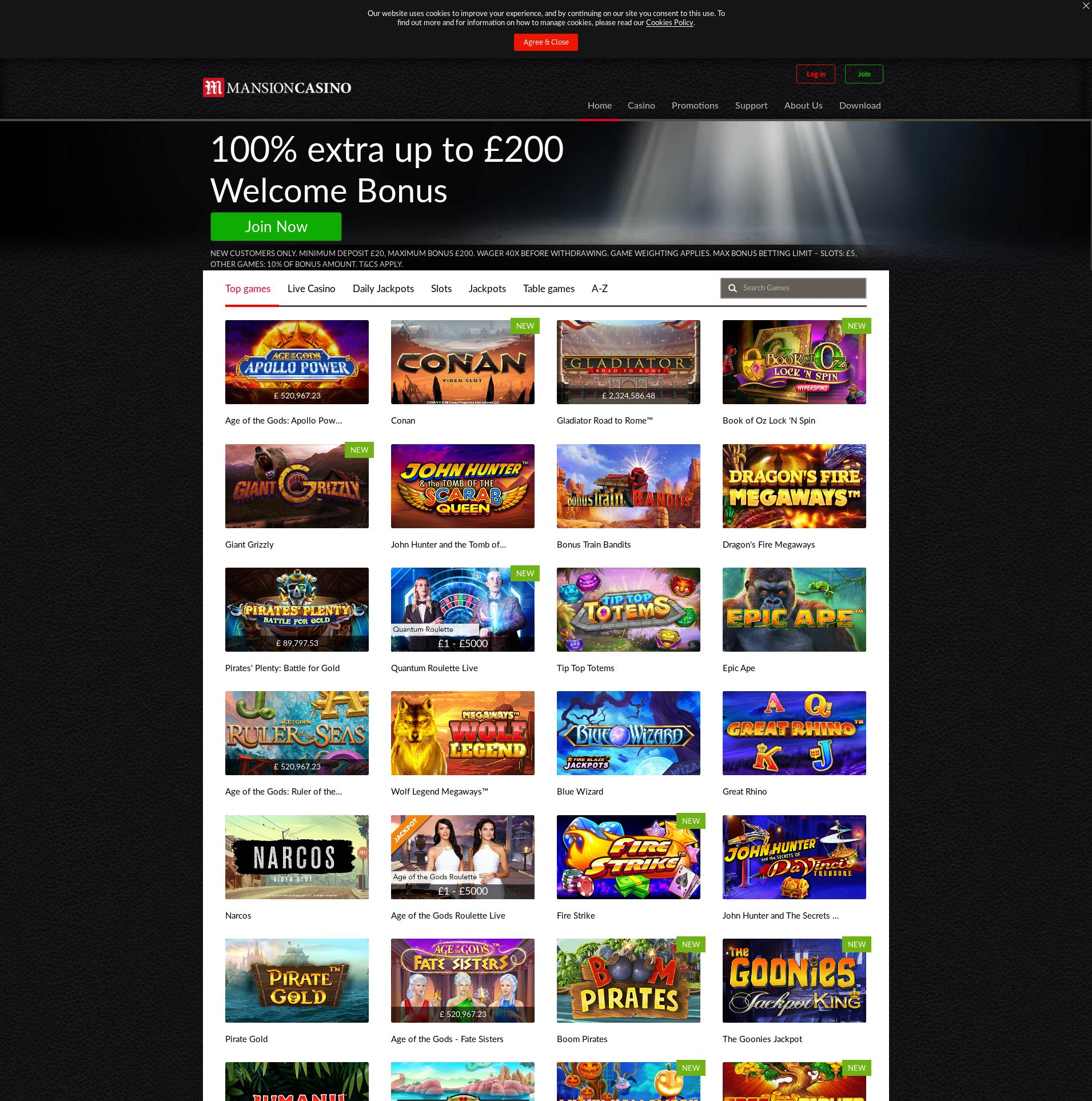 Casino screen Lobby 2019-10-22 for United Kingdom
