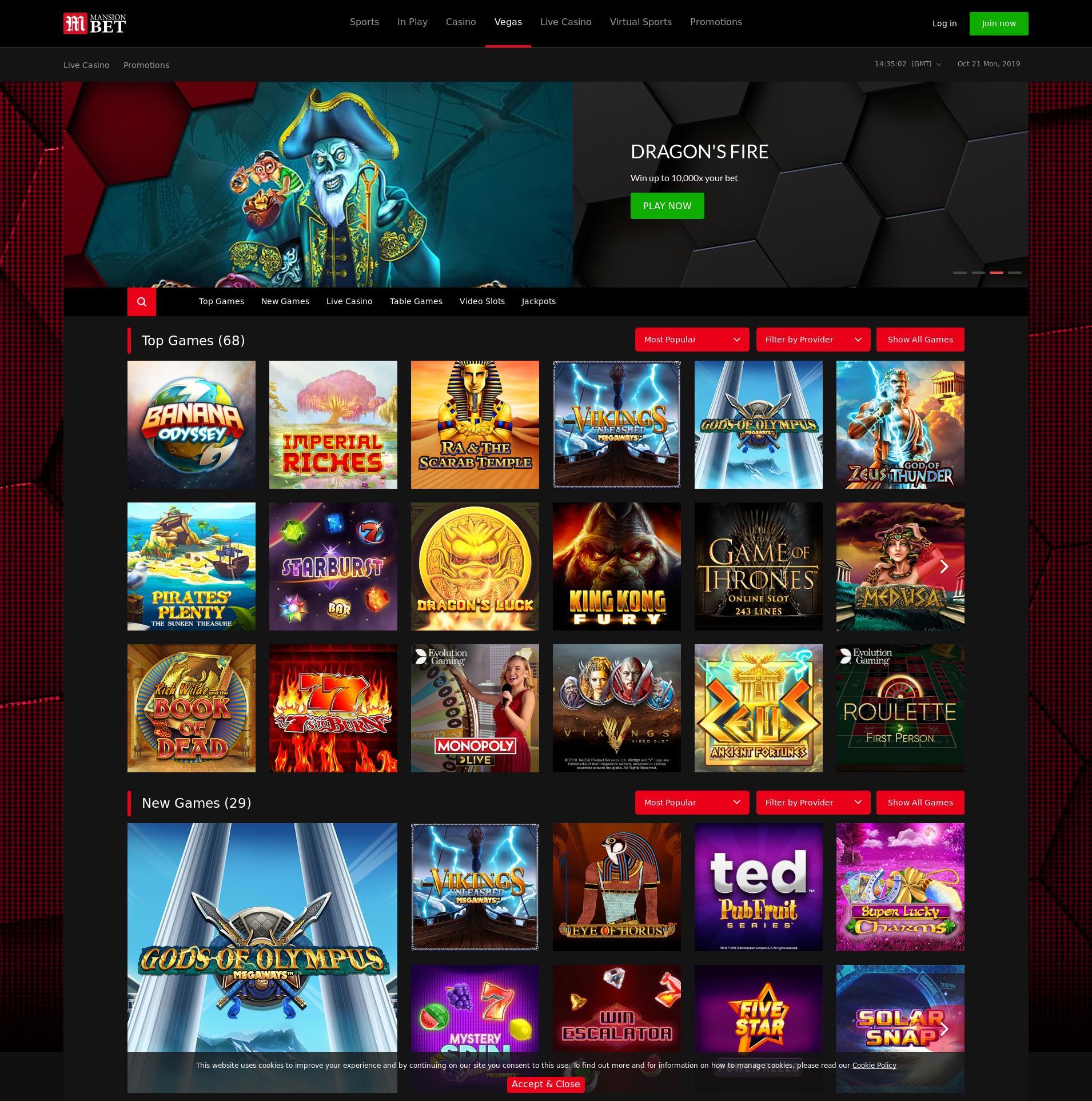 Casino screen Lobby 2019-10-21 for United Kingdom