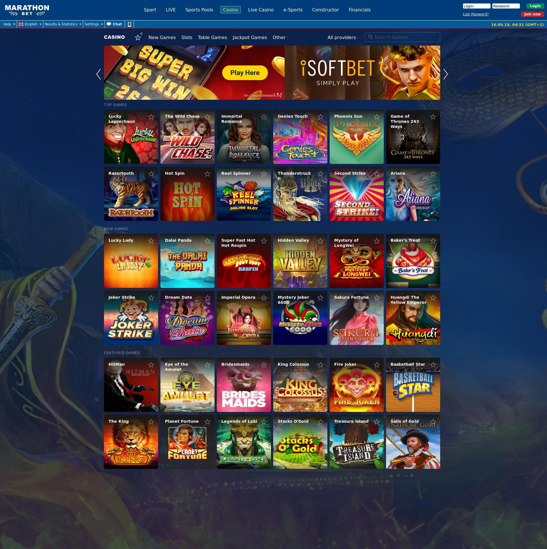 Casino screen Lobby 2019-09-16 for United Kingdom