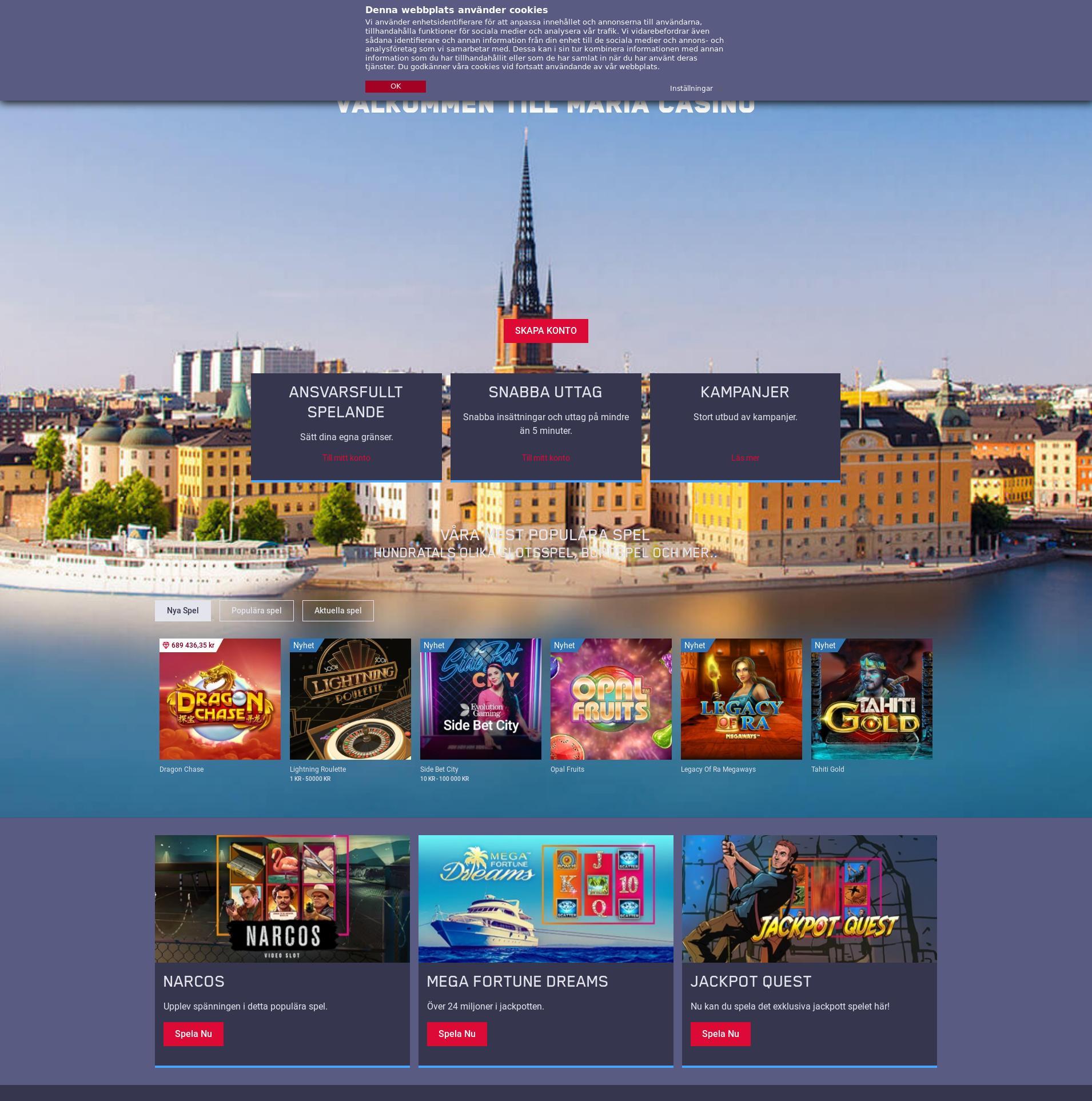 Casino skärm Lobby 2019-06-15 för Sverige