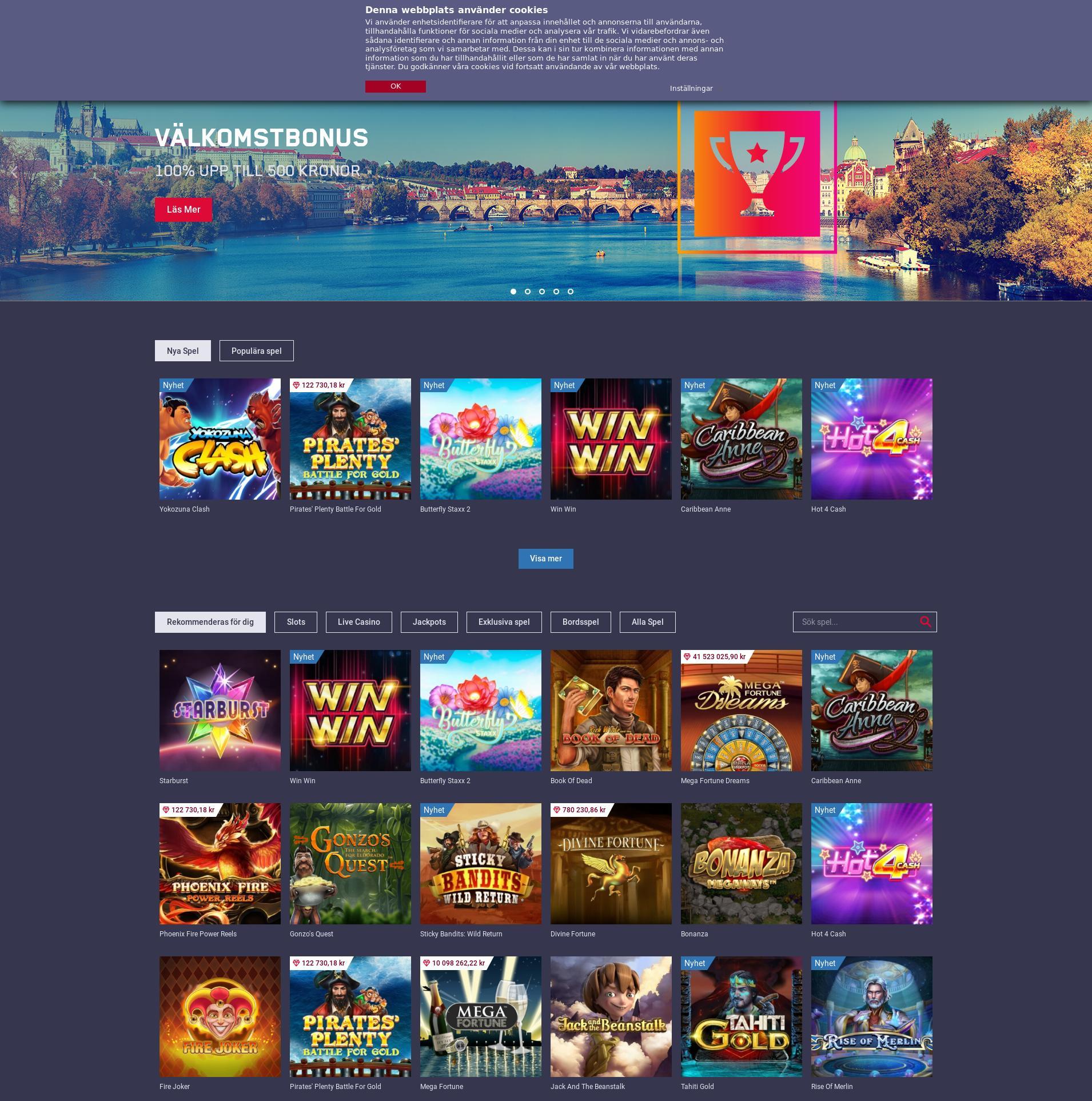 Casino skärm Lobby 2019-08-24 för Sverige