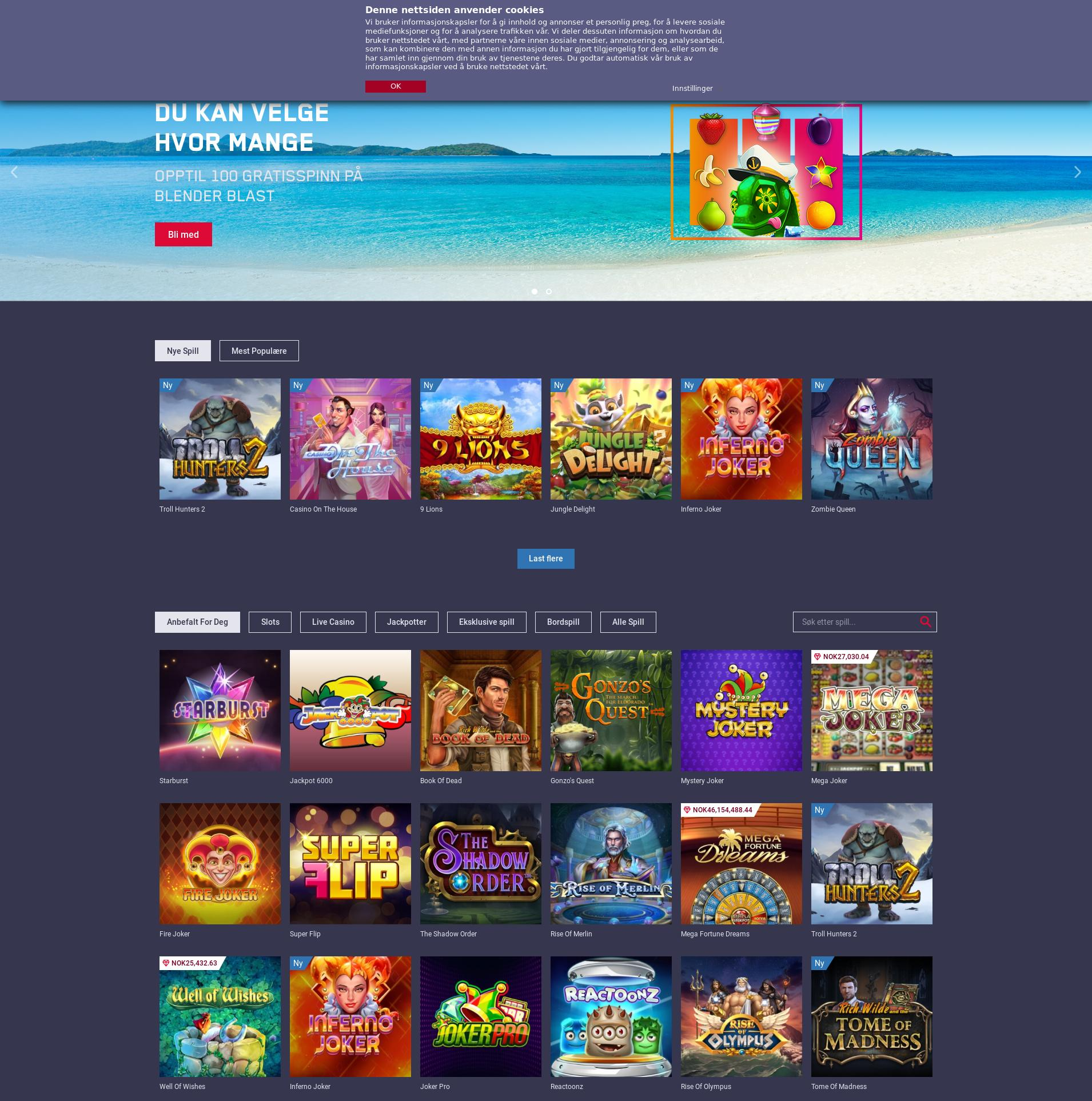 Casino skjerm Lobby 2019-09-19 til Norge