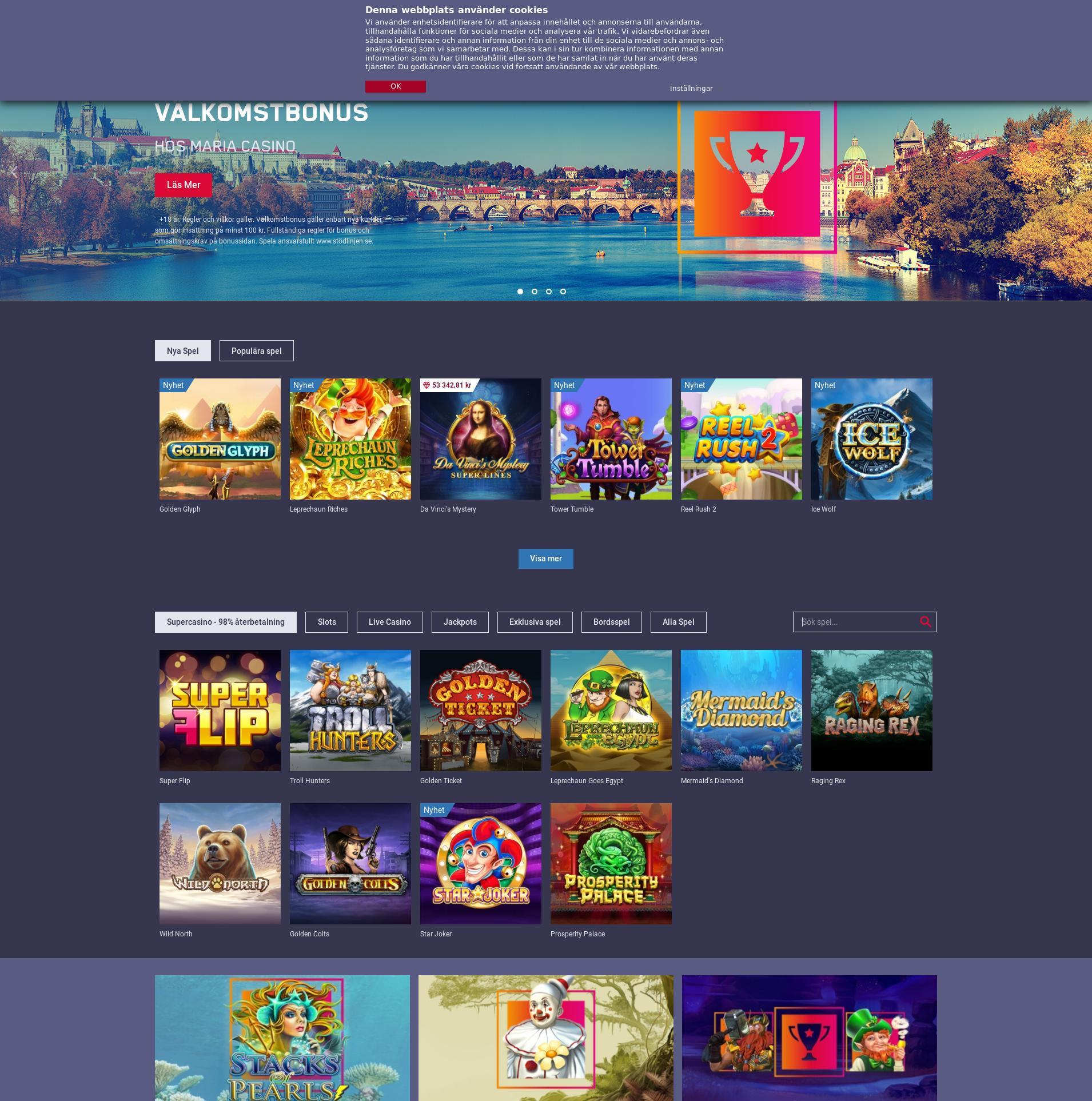 Casino screen Lobby 2019-11-13 for Sweden