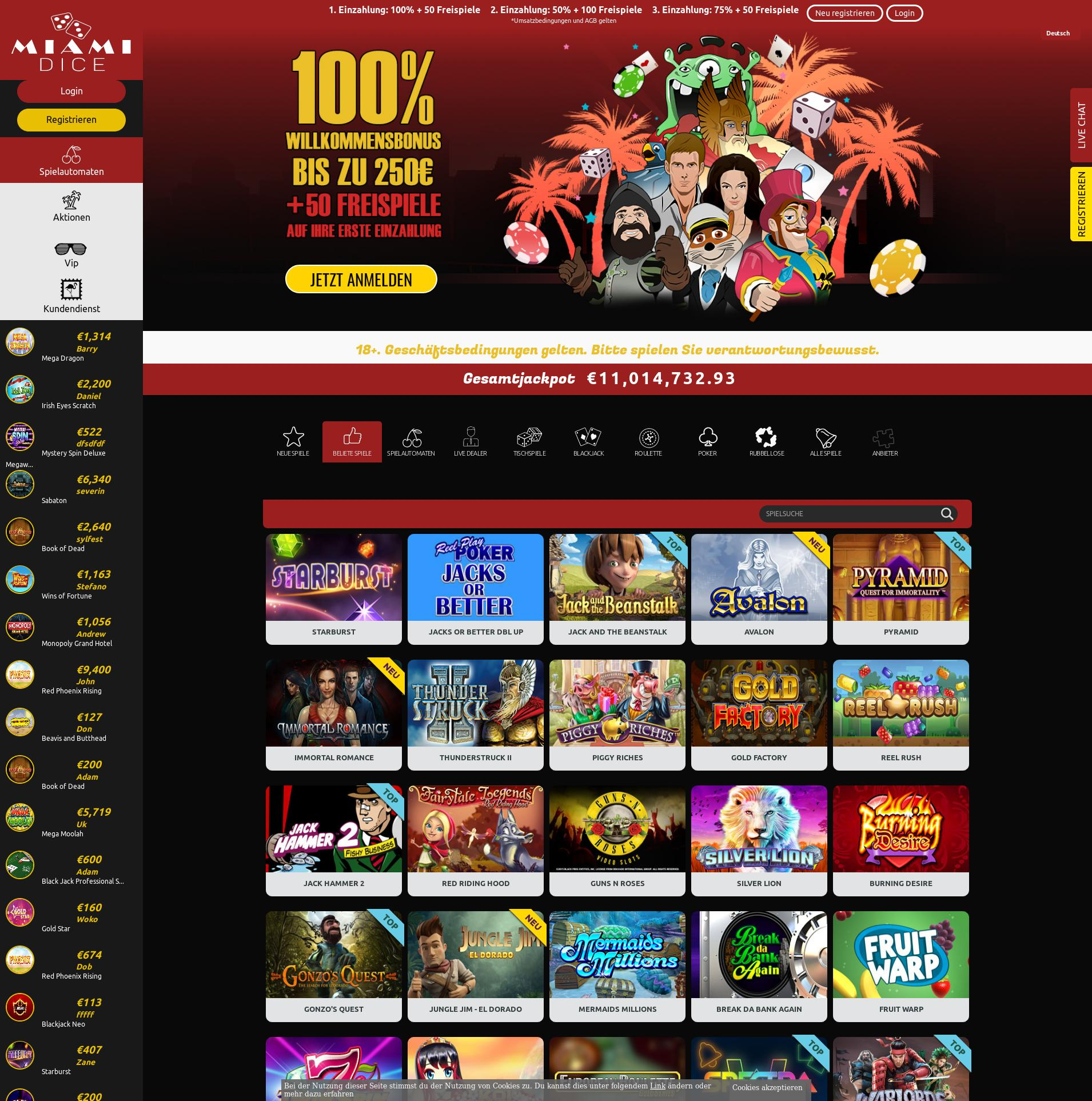Casino screen Lobby 2019-10-21 for Germany