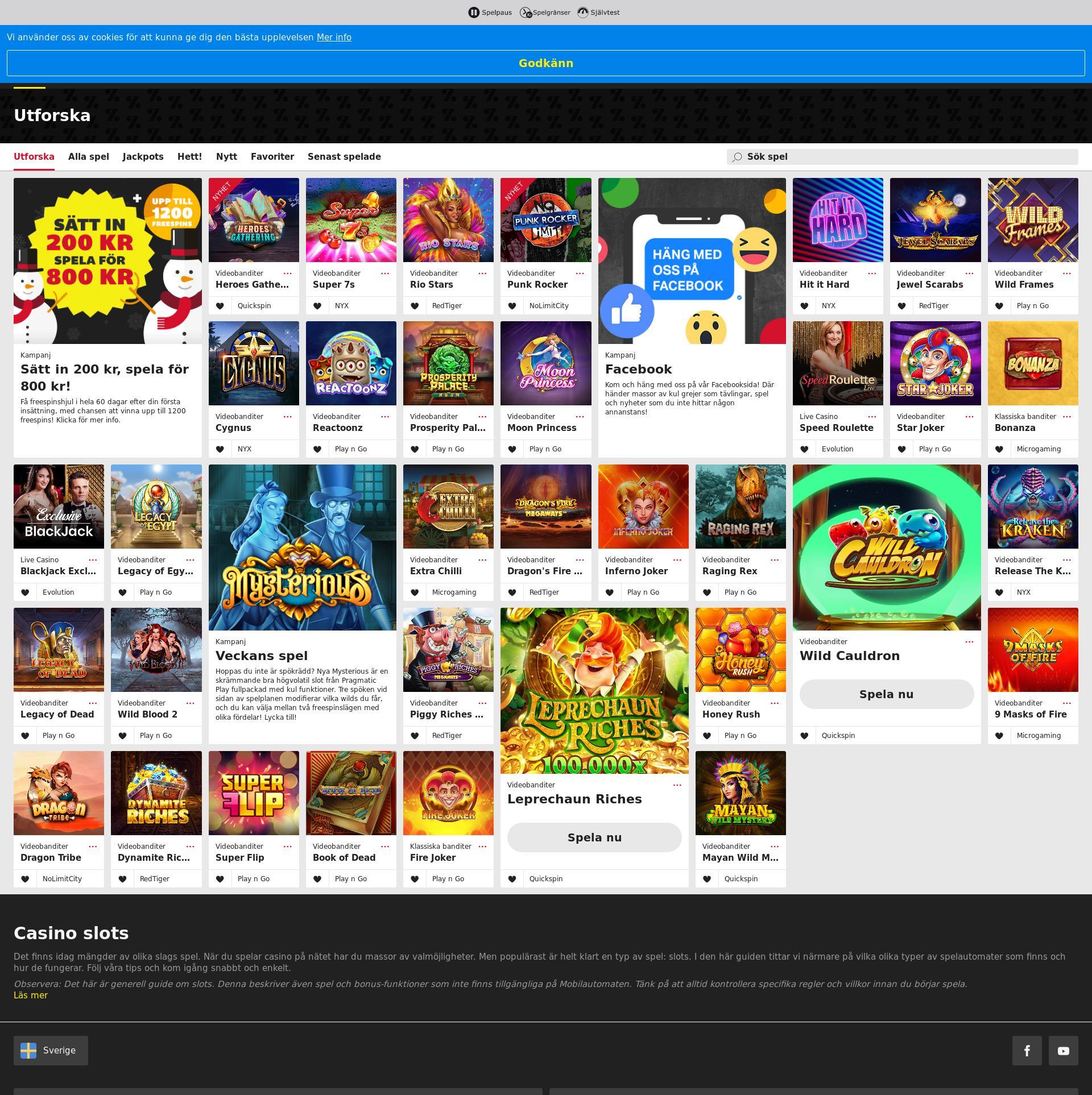 Casino skärm Lobby 2020-02-21 för Sverige