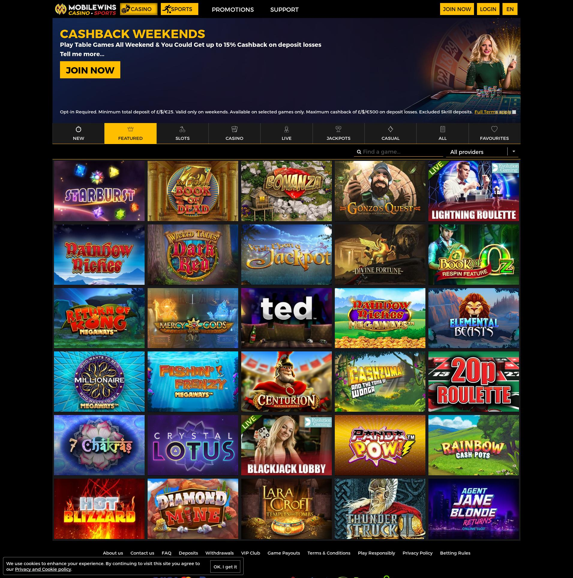 Casino screen Lobby 2019-11-21 for United Kingdom