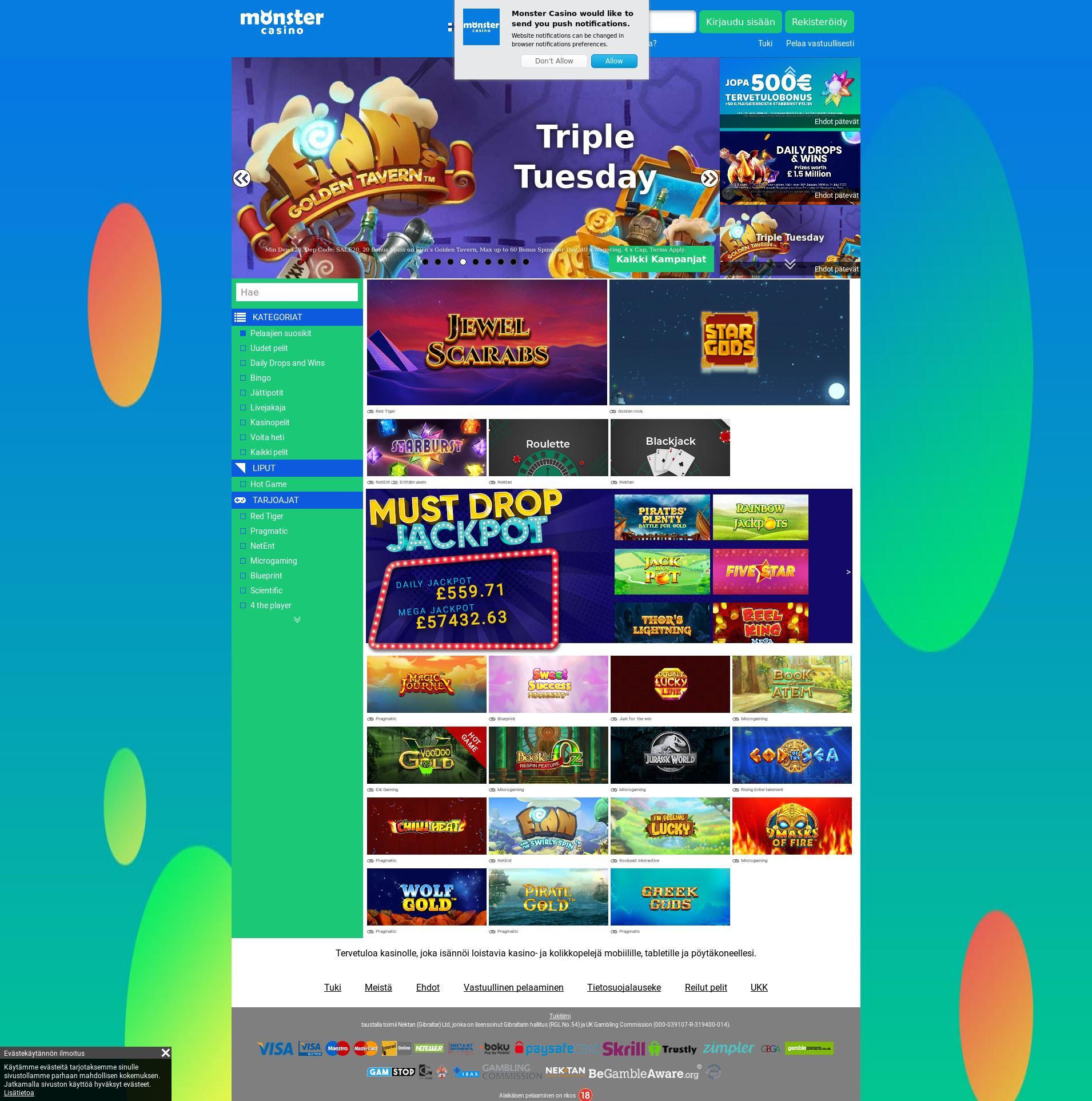 Casino screen Lobby 2020-01-21 for Finland