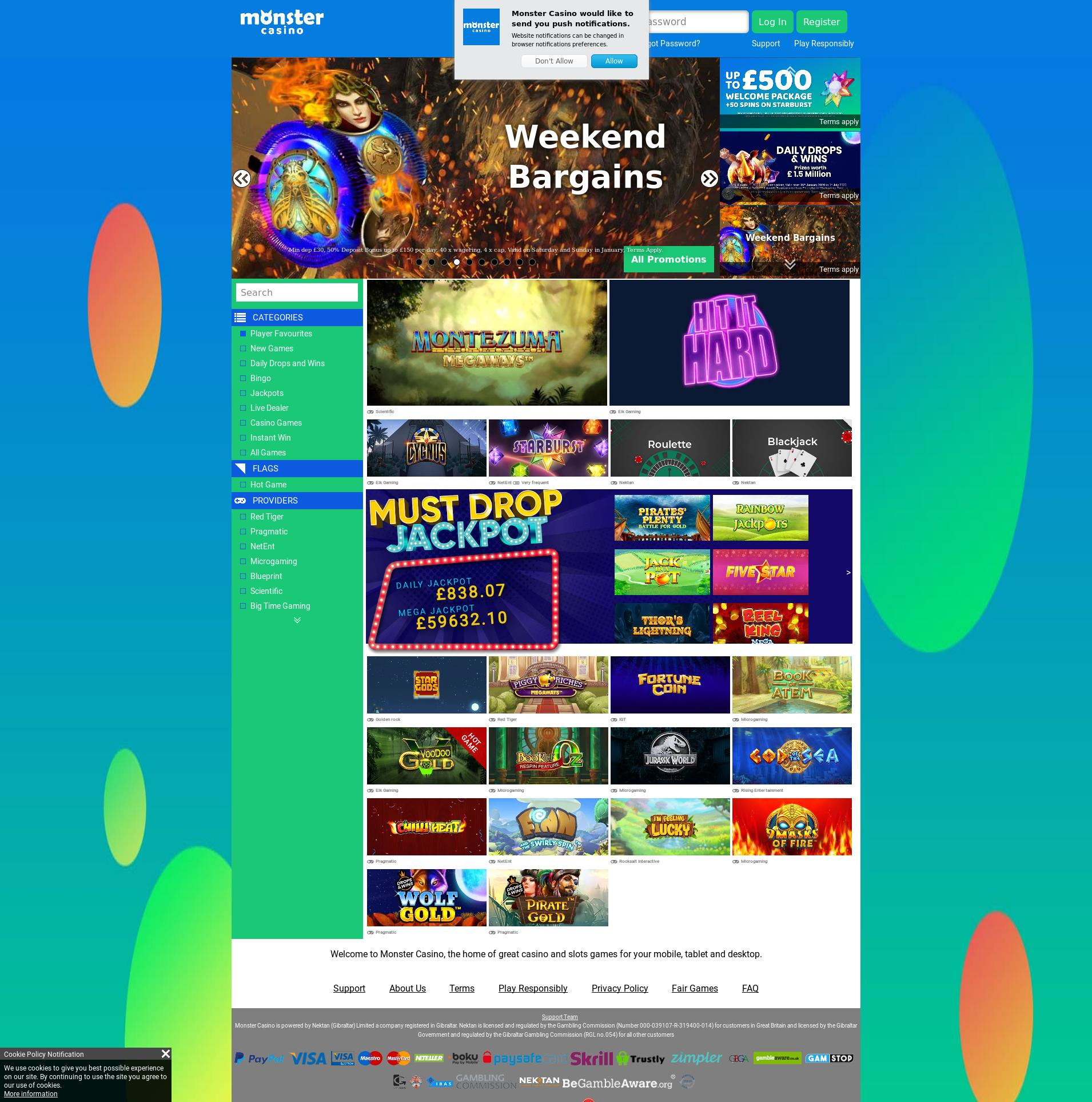 Casino screen Lobby 2020-01-25 for United Kingdom