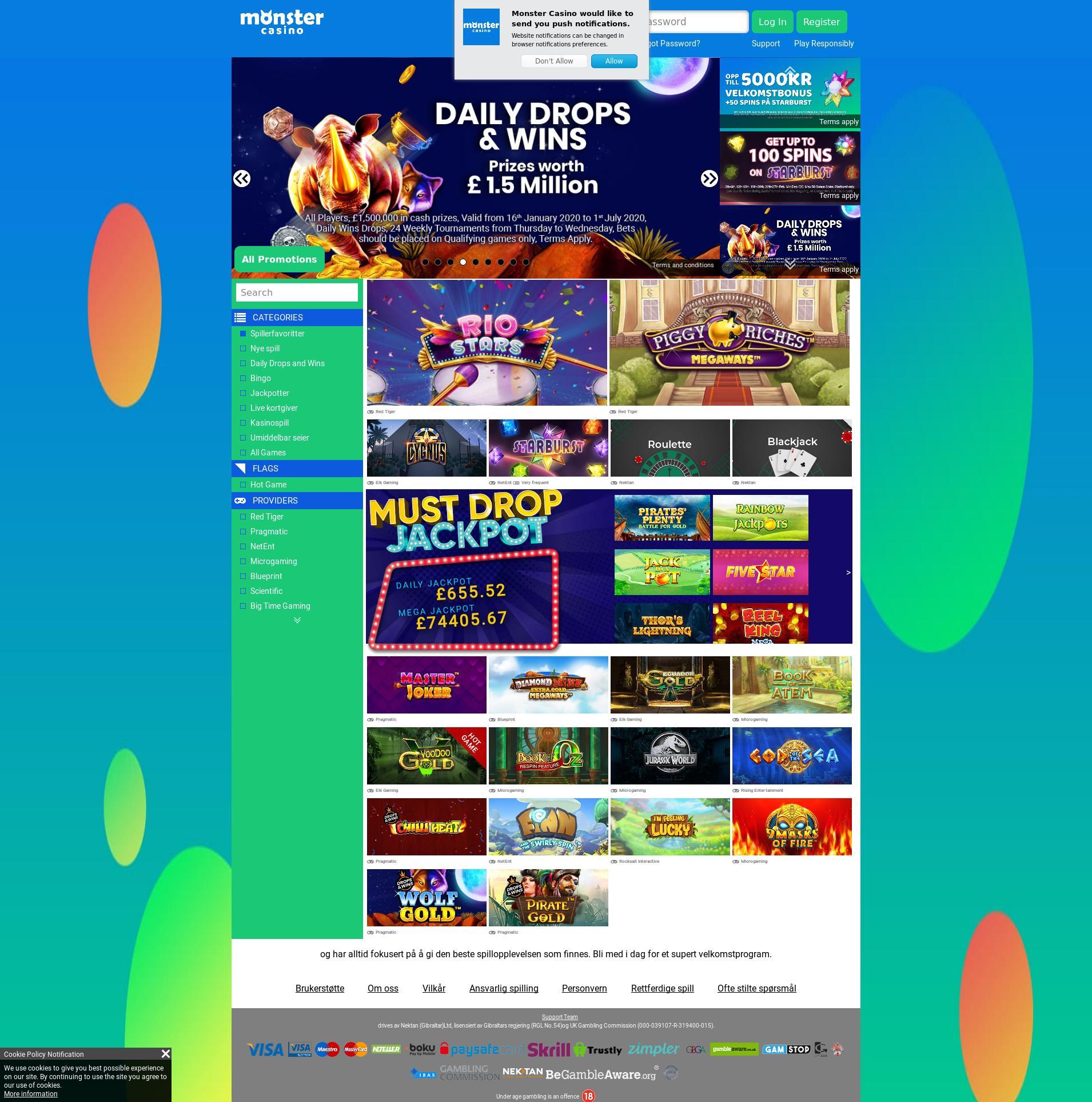 Casino screen Lobby 2020-02-20 for Norway